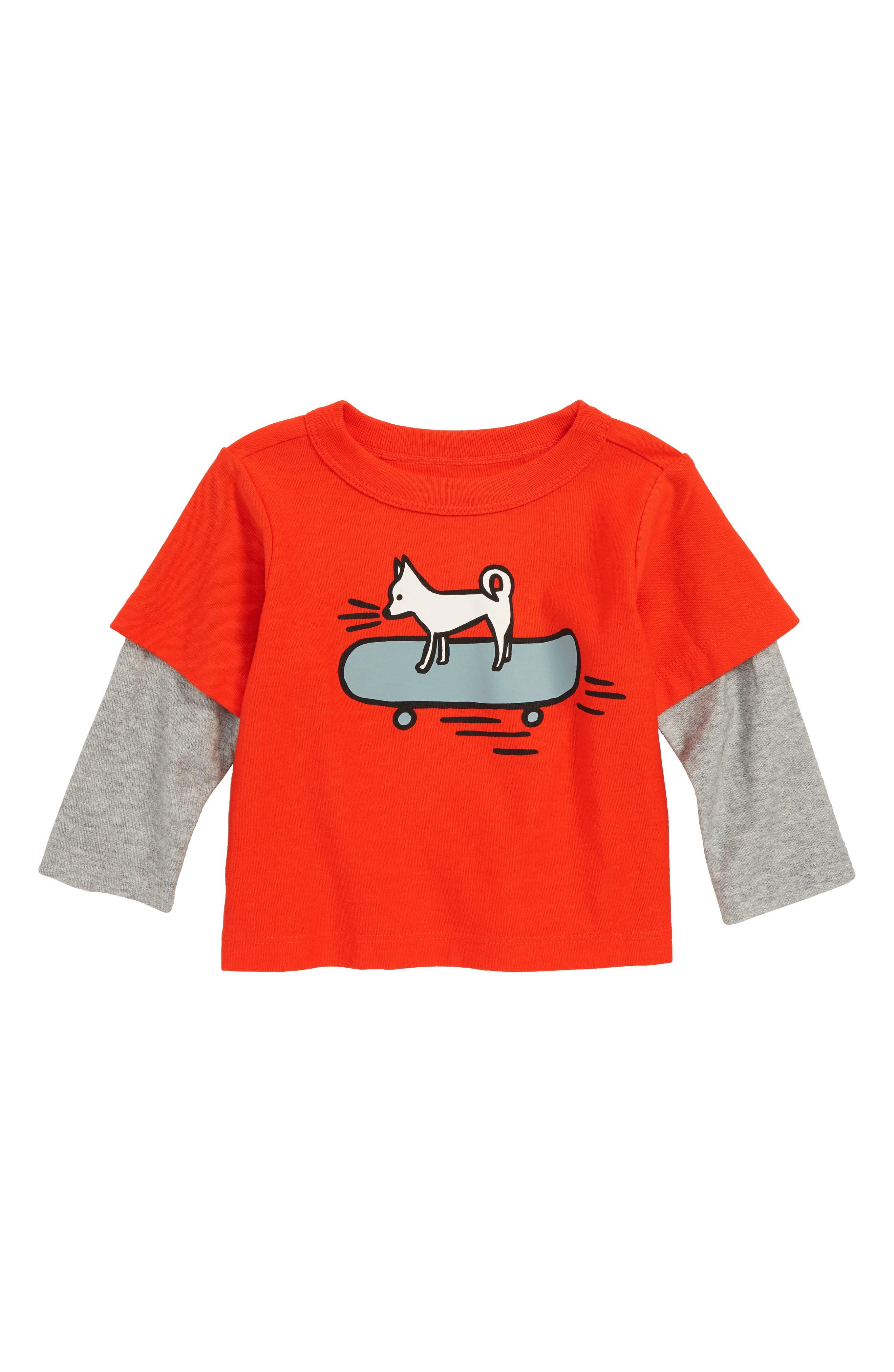 Cool Chihuahua Layer T-Shirt,                             Main thumbnail 1, color,                             POPPY