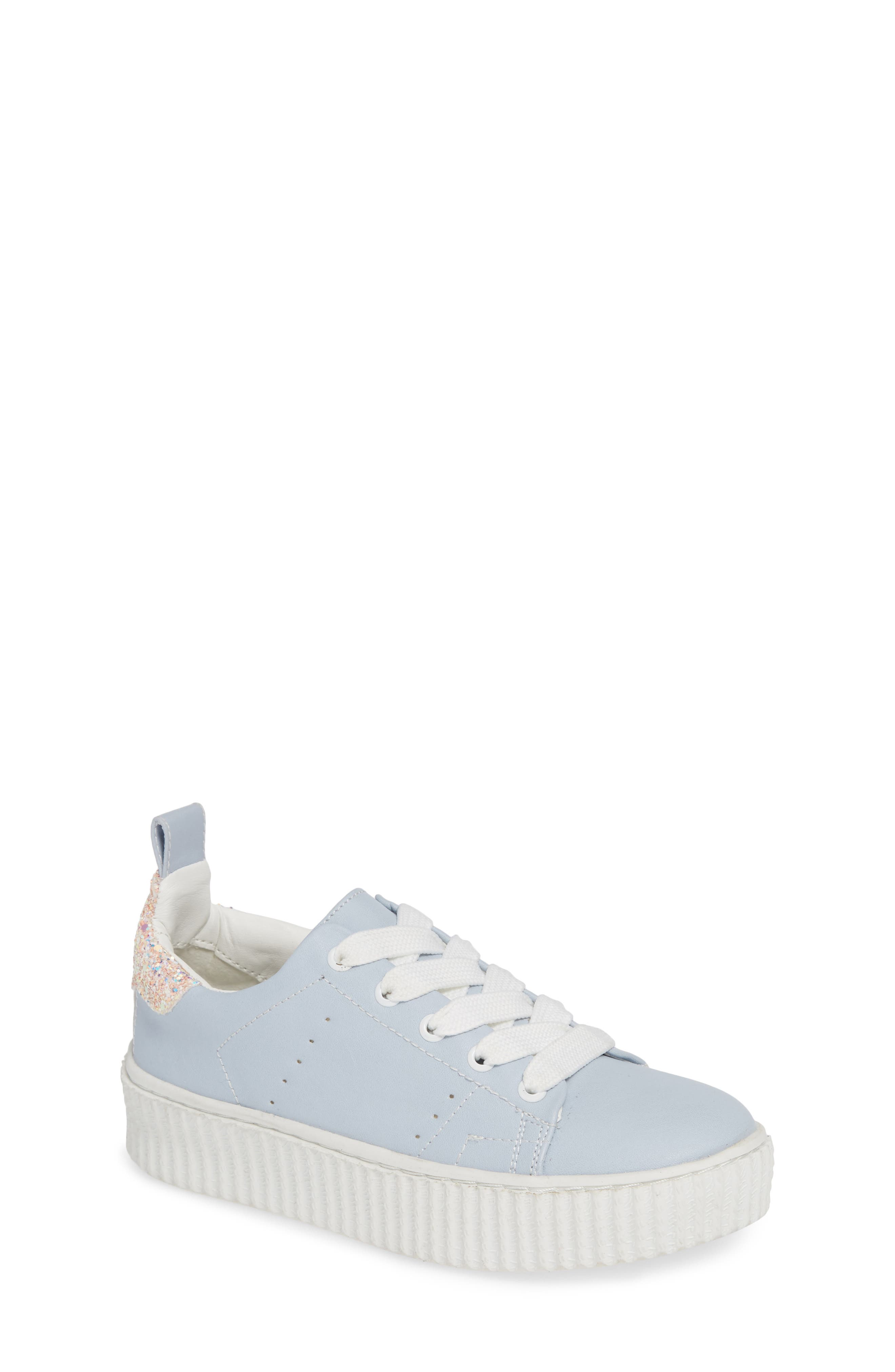 Wren Glitter Heel Sneaker,                             Main thumbnail 1, color,                             LIGHT BLUE