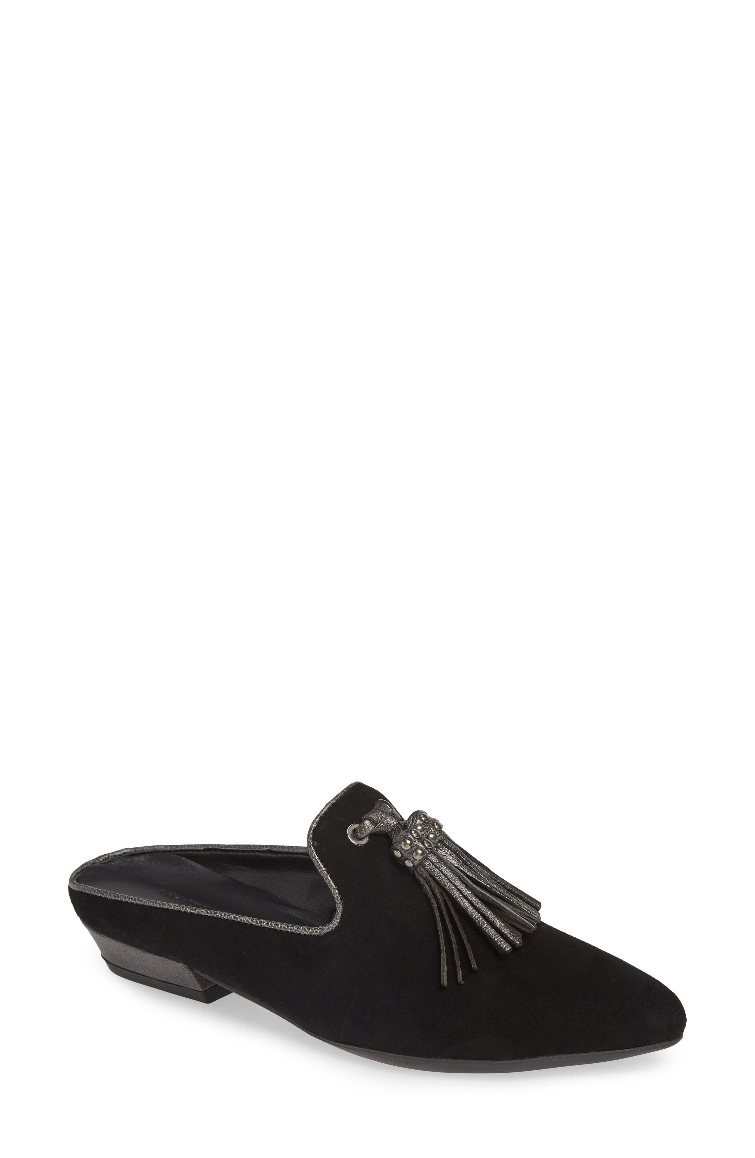 Sophia Loafer Mule,                             Main thumbnail 1, color,                             BLACK SUEDE