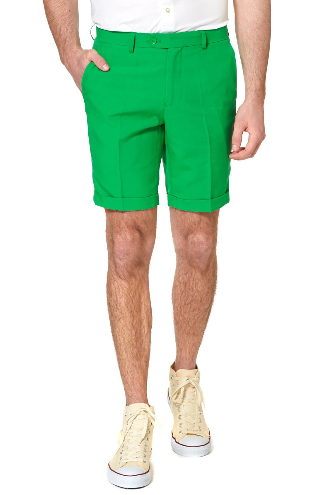 'Summer Green & Gold' Trim Fit Short Suit with Tie,                             Alternate thumbnail 3, color,