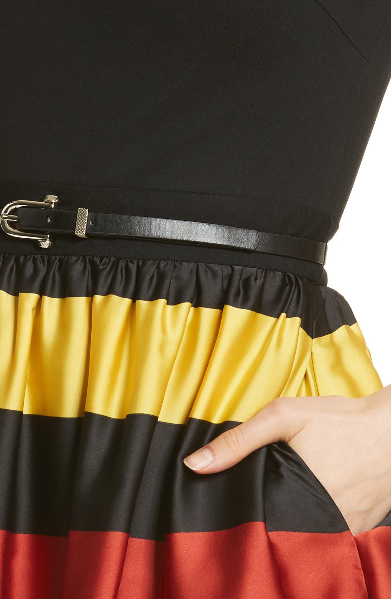TED BAKER LONDON,                             Cruise Stripe Fit & Flare Dress,                             Alternate thumbnail 4, color,                             001