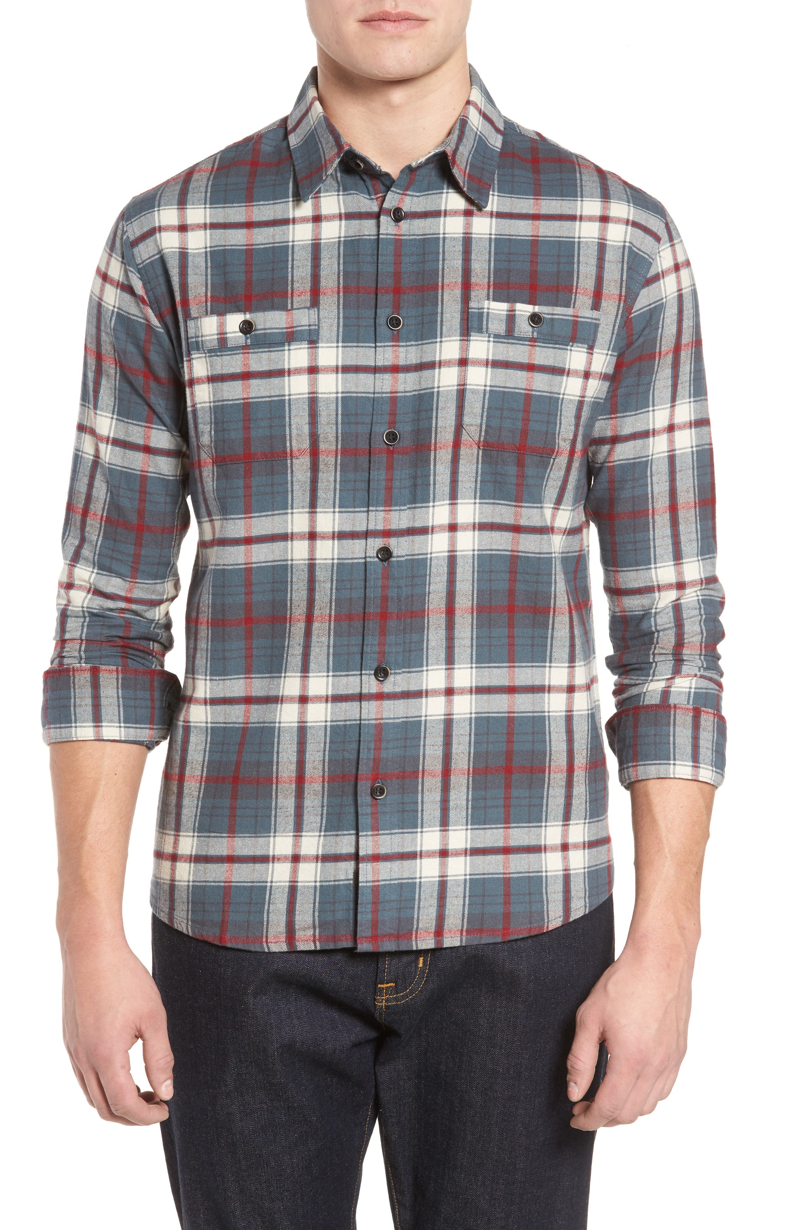 Raleigh Plaid Flannel Sport Shirt,                         Main,                         color, 009