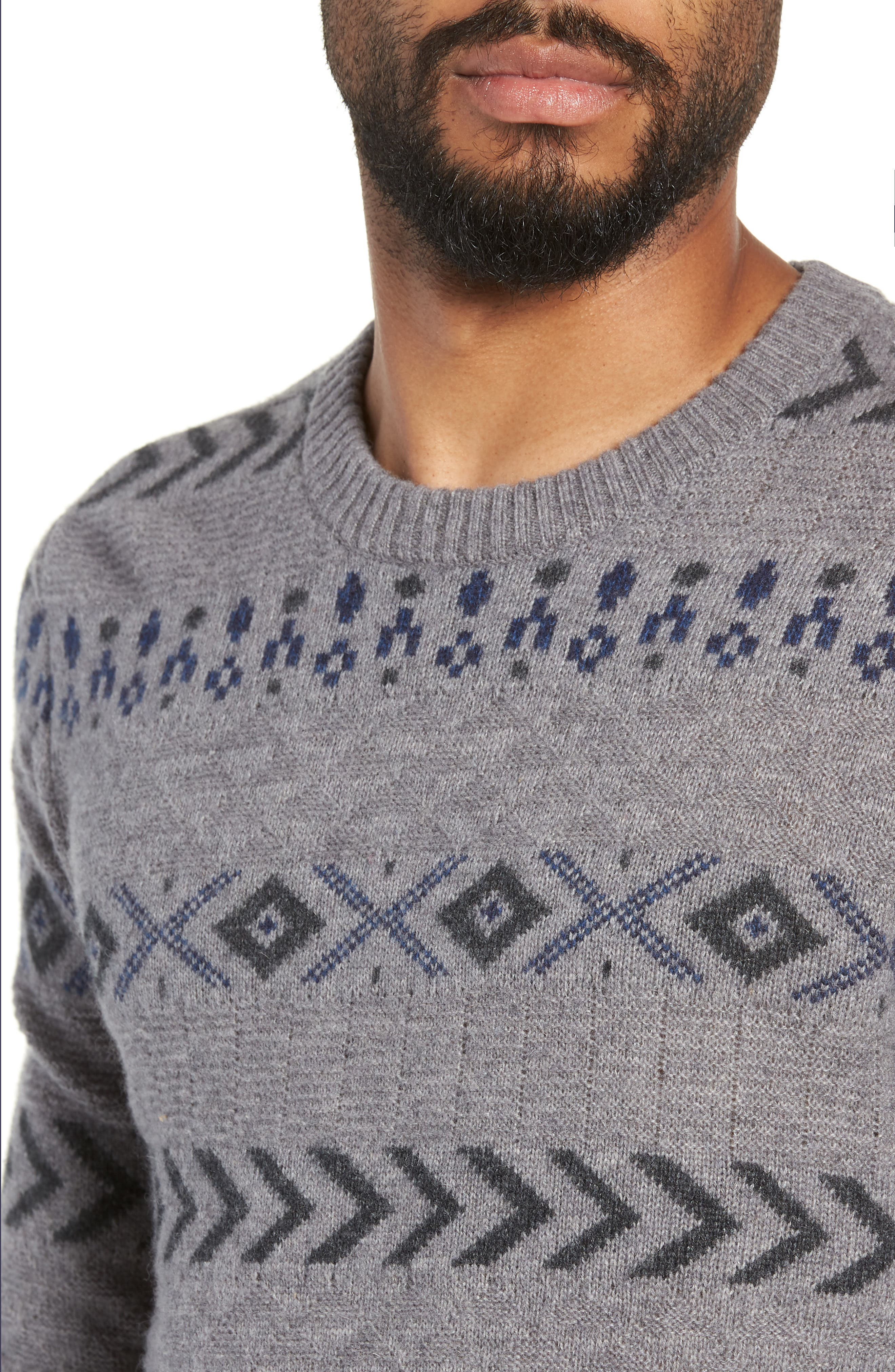 New Monrad Regular Fit Crewneck Sweater,                             Alternate thumbnail 4, color,                             MEDIUM GREY / ANTHRACITE