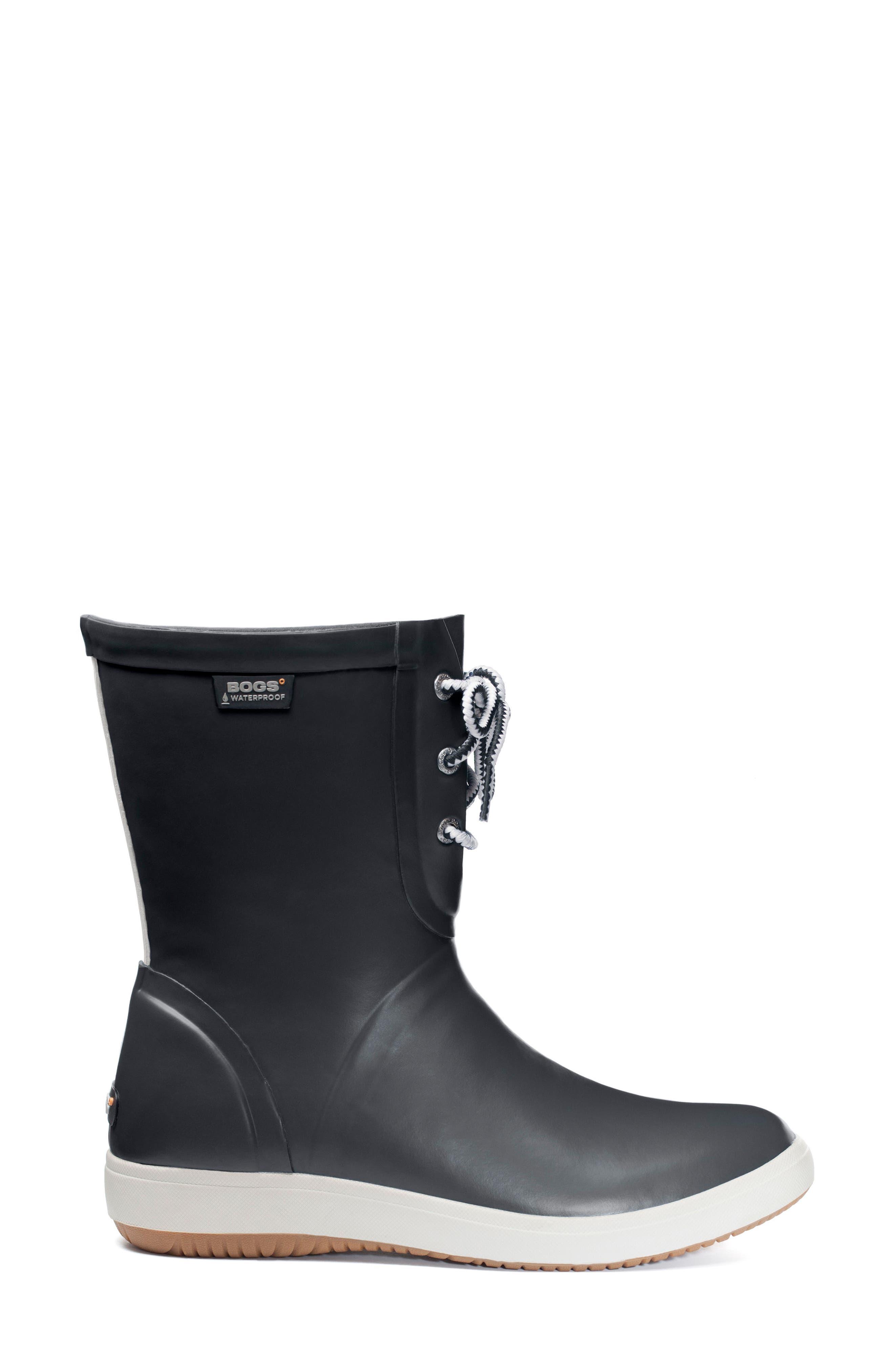 Quinn Lace-Up Rain Boot,                             Alternate thumbnail 3, color,                             001
