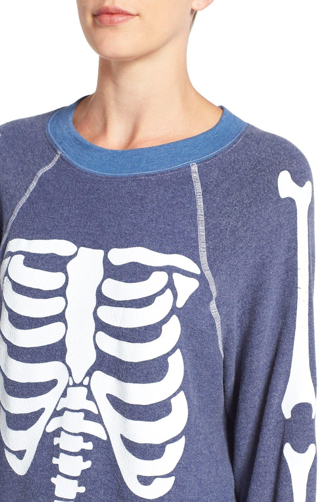 'Inside Out' Skeleton Print Pullover,                             Alternate thumbnail 5, color,                             401