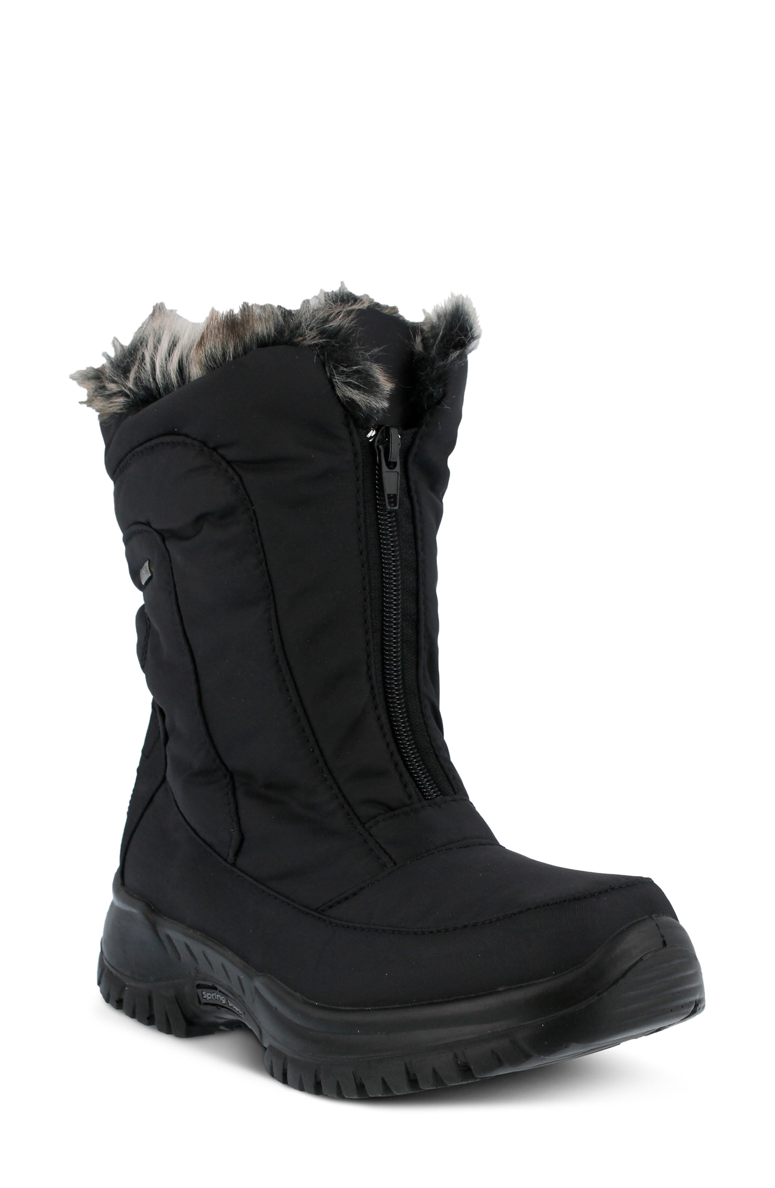 SPRING STEP,                             Zigzag Waterproof Faux Fur Bootie,                             Main thumbnail 1, color,                             BLACK FABRIC