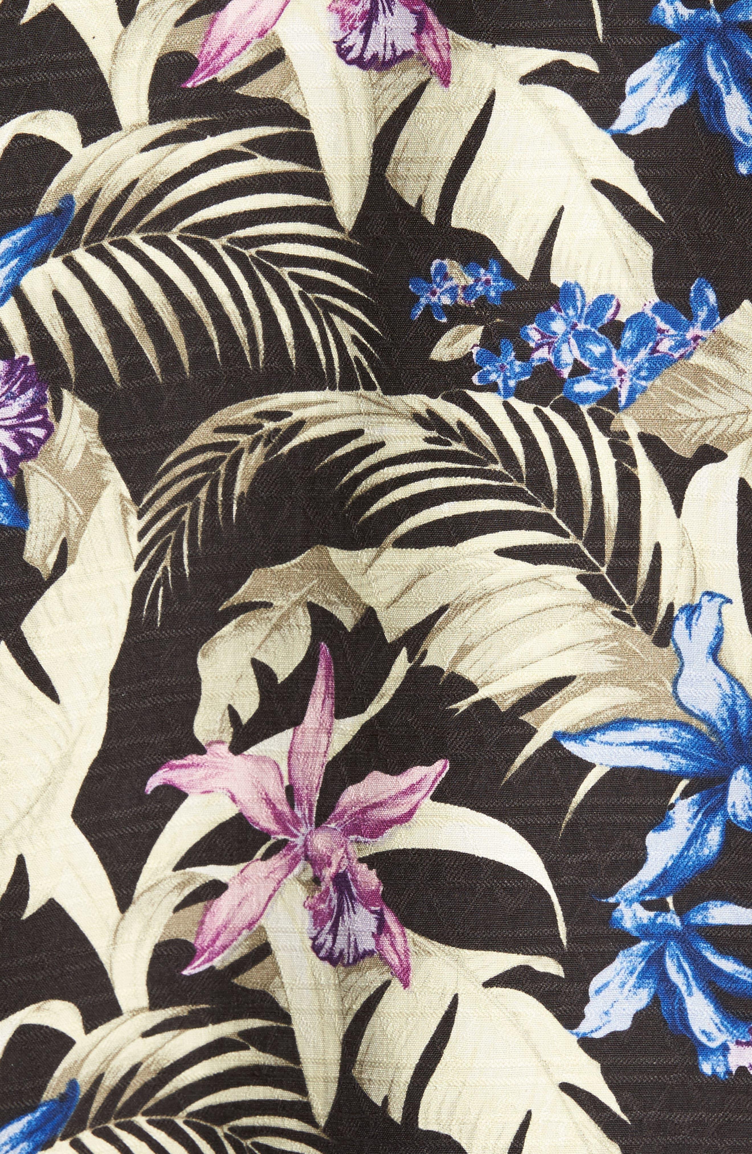 Menara Garden Standard Fit Silk Camp Shirt,                             Alternate thumbnail 5, color,                             001