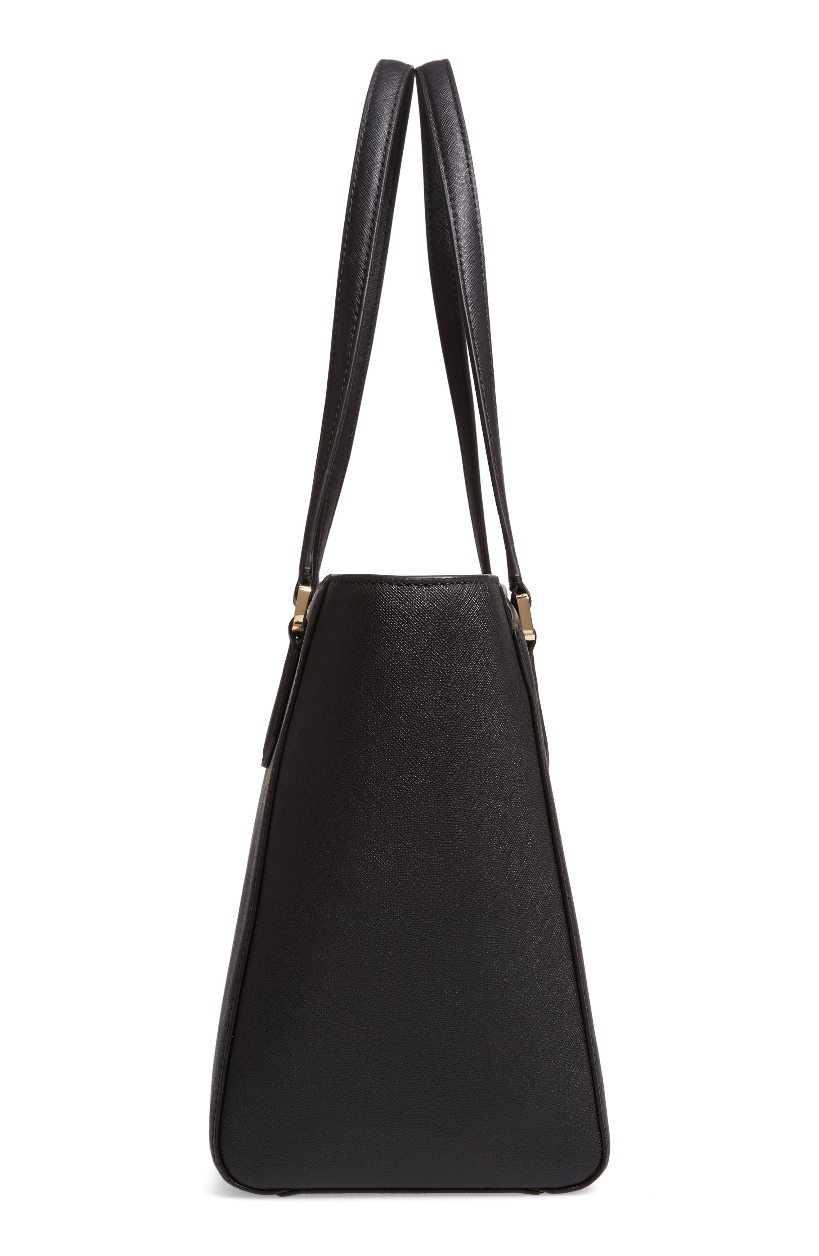 Small Robinson Saffiano Leather Tote,                             Alternate thumbnail 5, color,                             BLACK