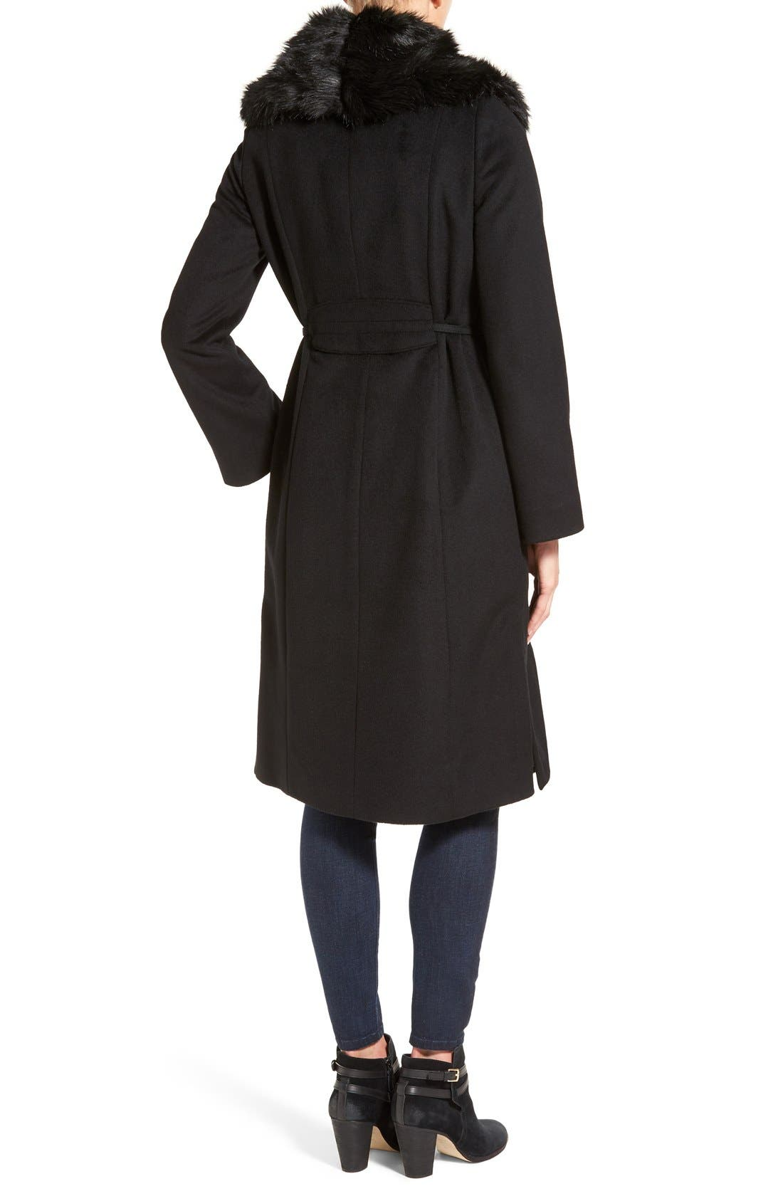 Faux Fur Shawl Collar Wool Blend Wrap Coat,                             Alternate thumbnail 2, color,