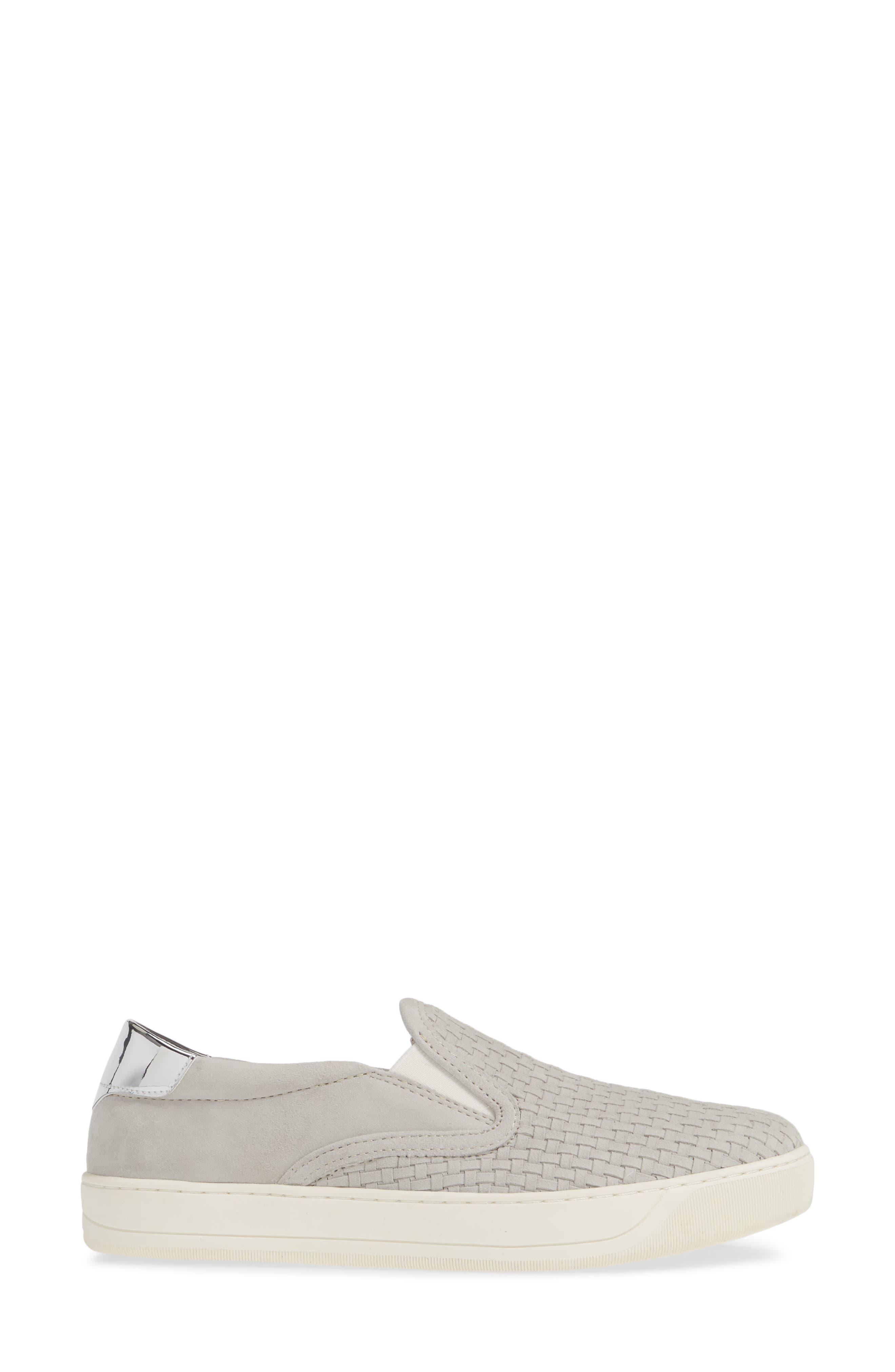 Elaine Woven Slip-On Sneaker,                             Alternate thumbnail 3, color,                             GREY SUEDE