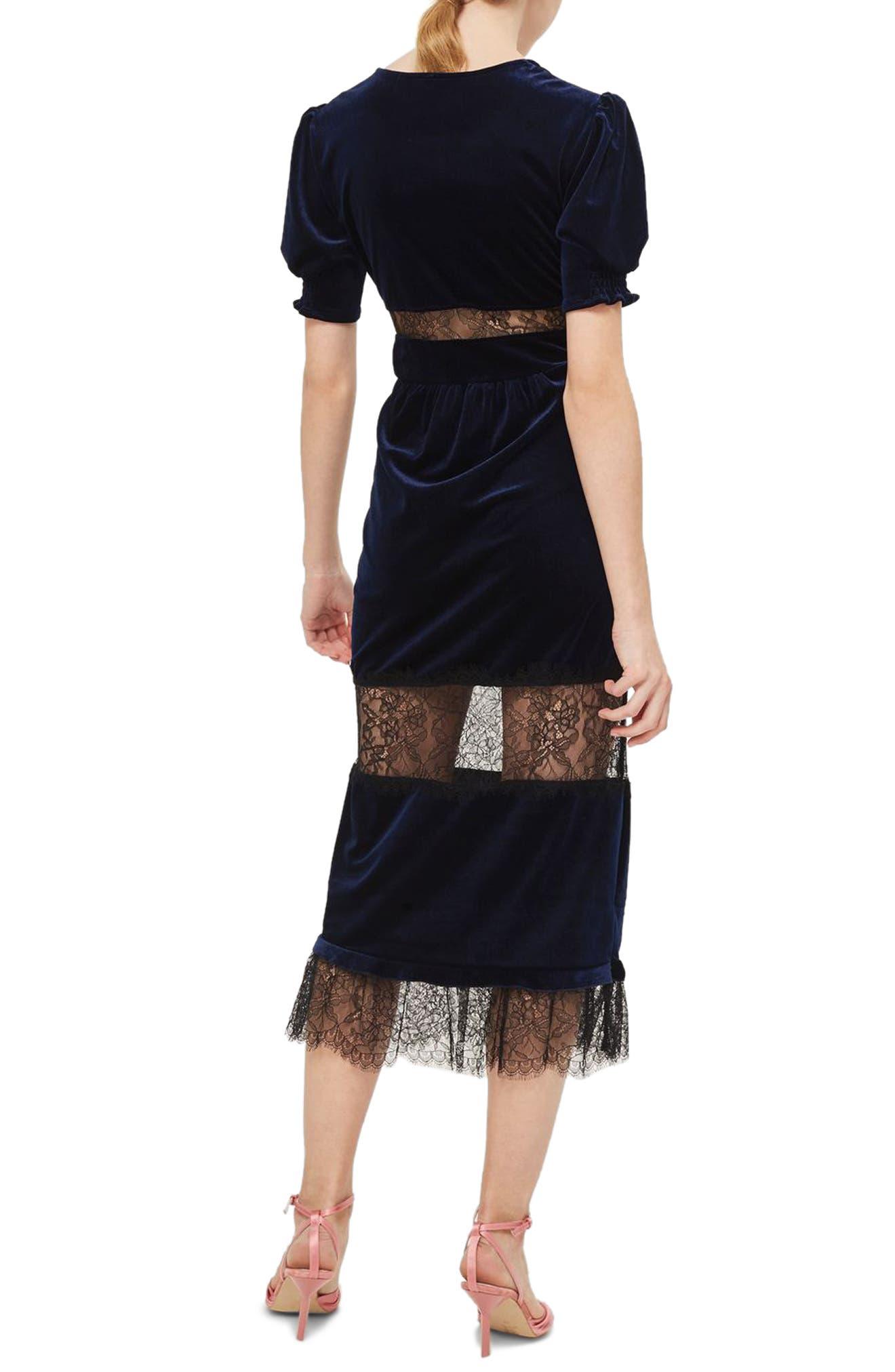 Velvet & Lace Puff Sleeve Midi Dress,                             Alternate thumbnail 2, color,