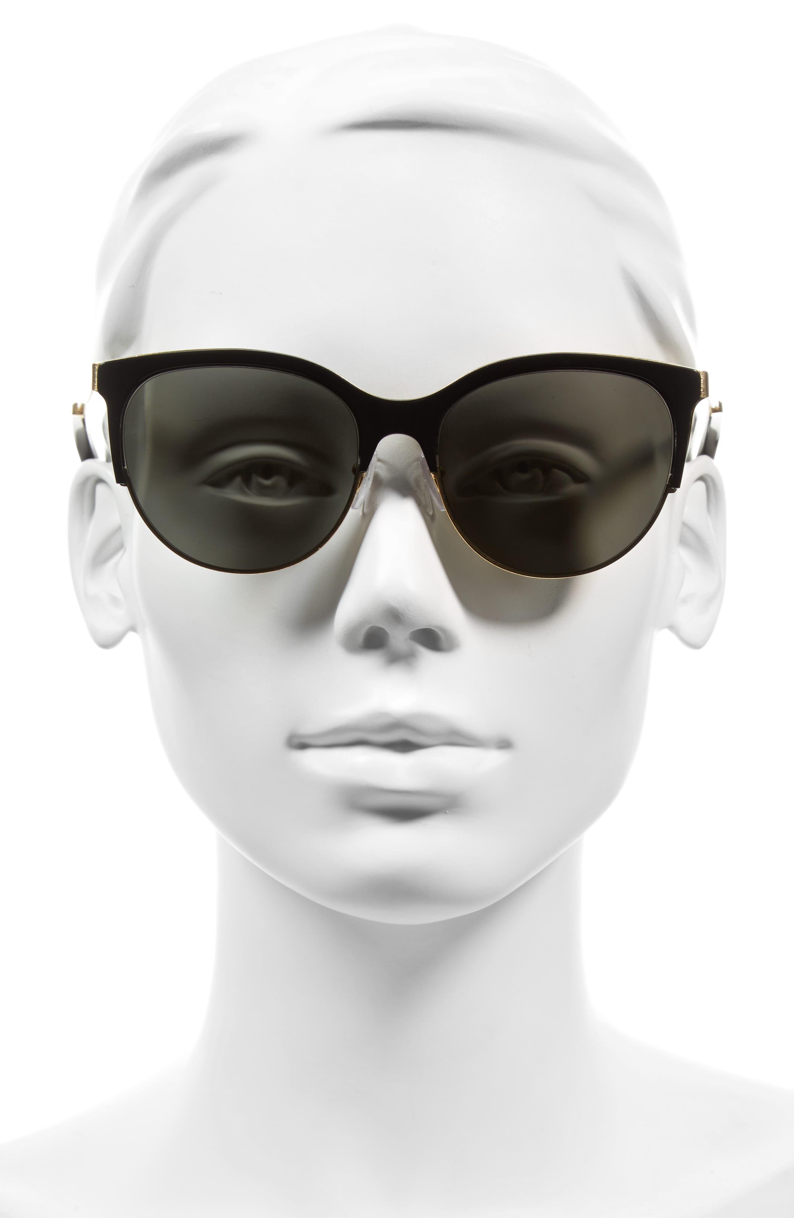 Layered Combination Kitten 55mm Sunglasses,                             Alternate thumbnail 2, color,                             001