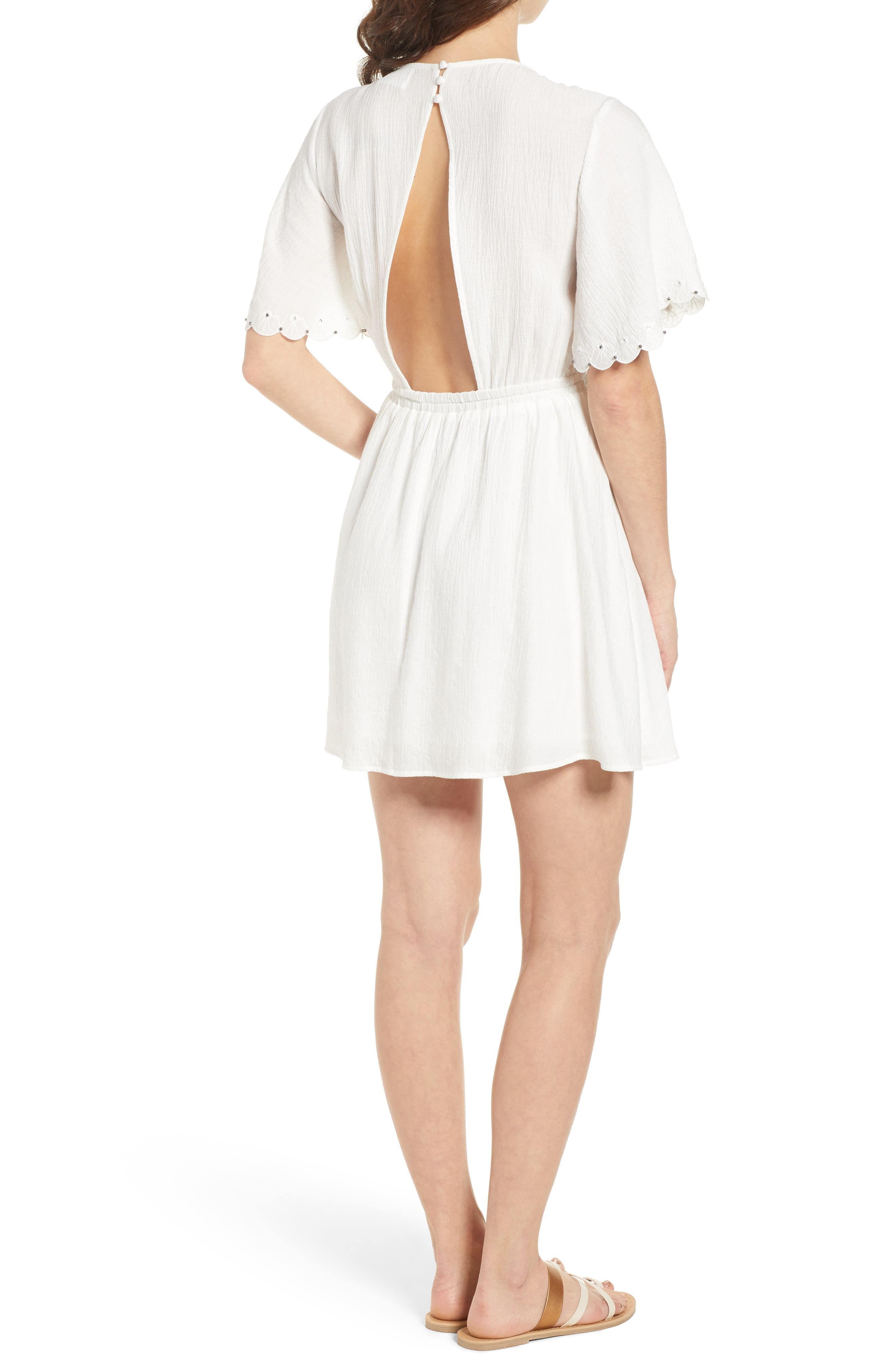 Magnolia Flutter Sleeve Dress,                             Alternate thumbnail 2, color,                             100