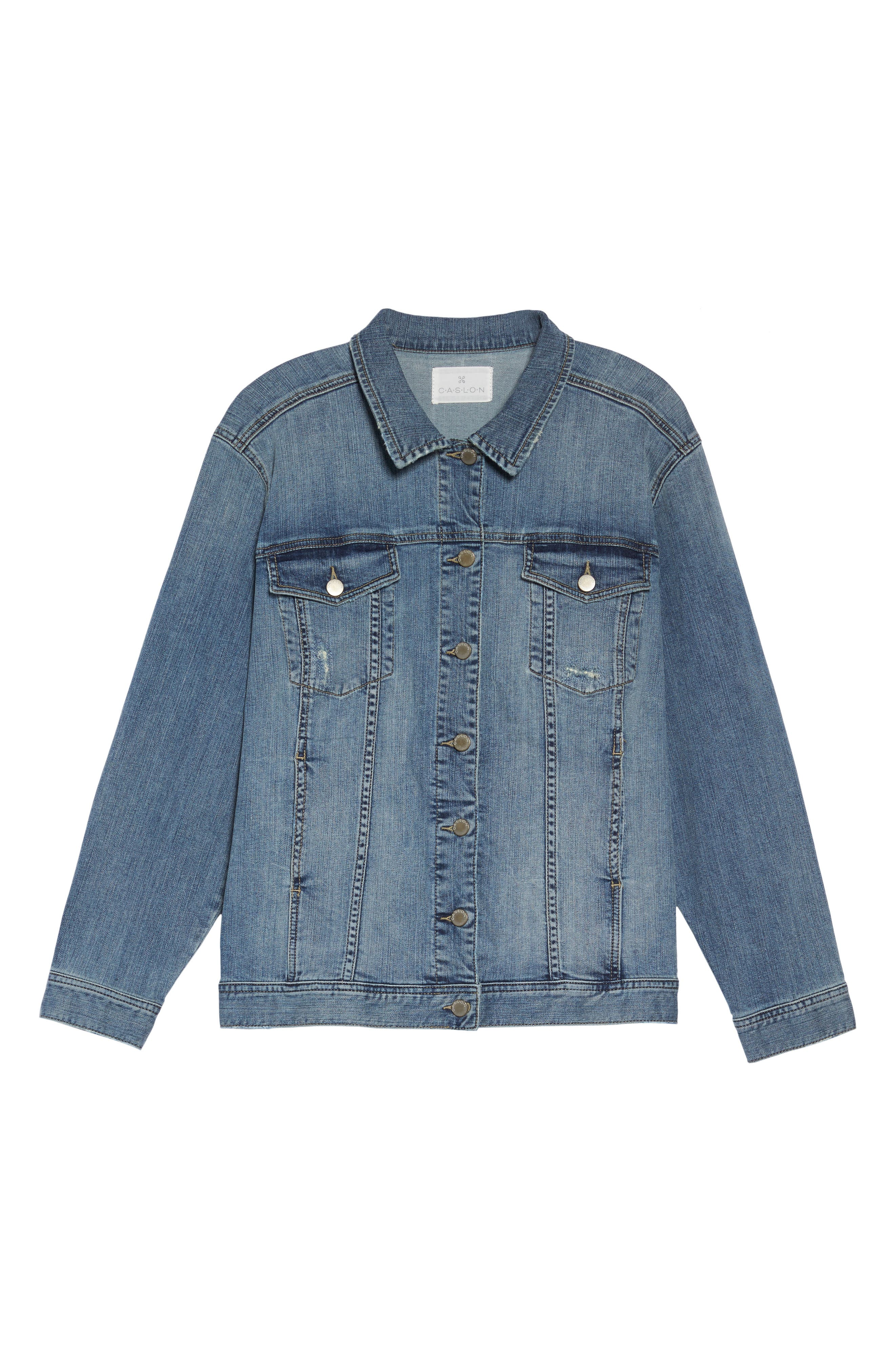 Relaxed Fit Denim Jacket,                             Alternate thumbnail 5, color,                             420