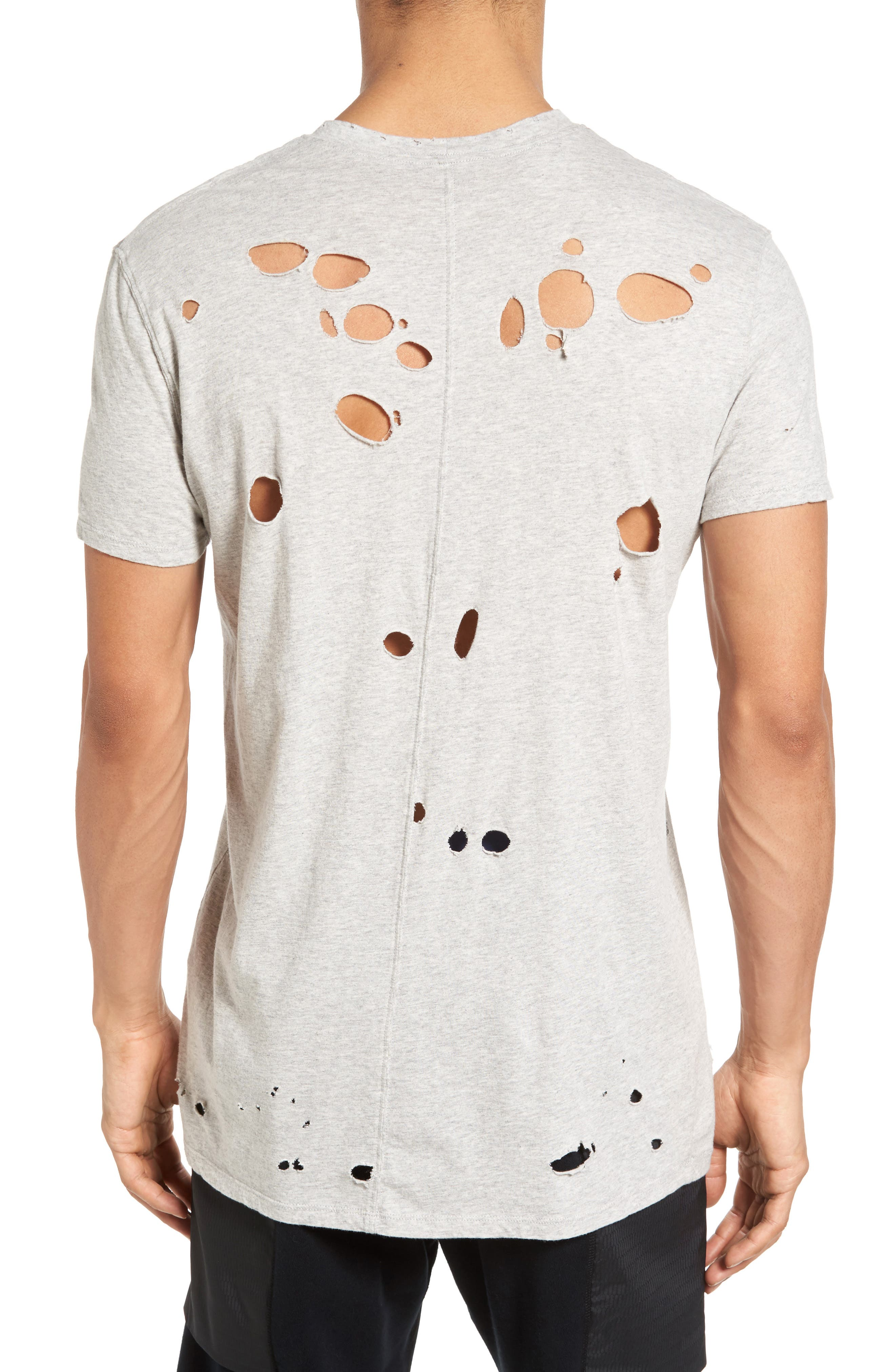 Torn Crewneck T-Shirt,                             Alternate thumbnail 8, color,