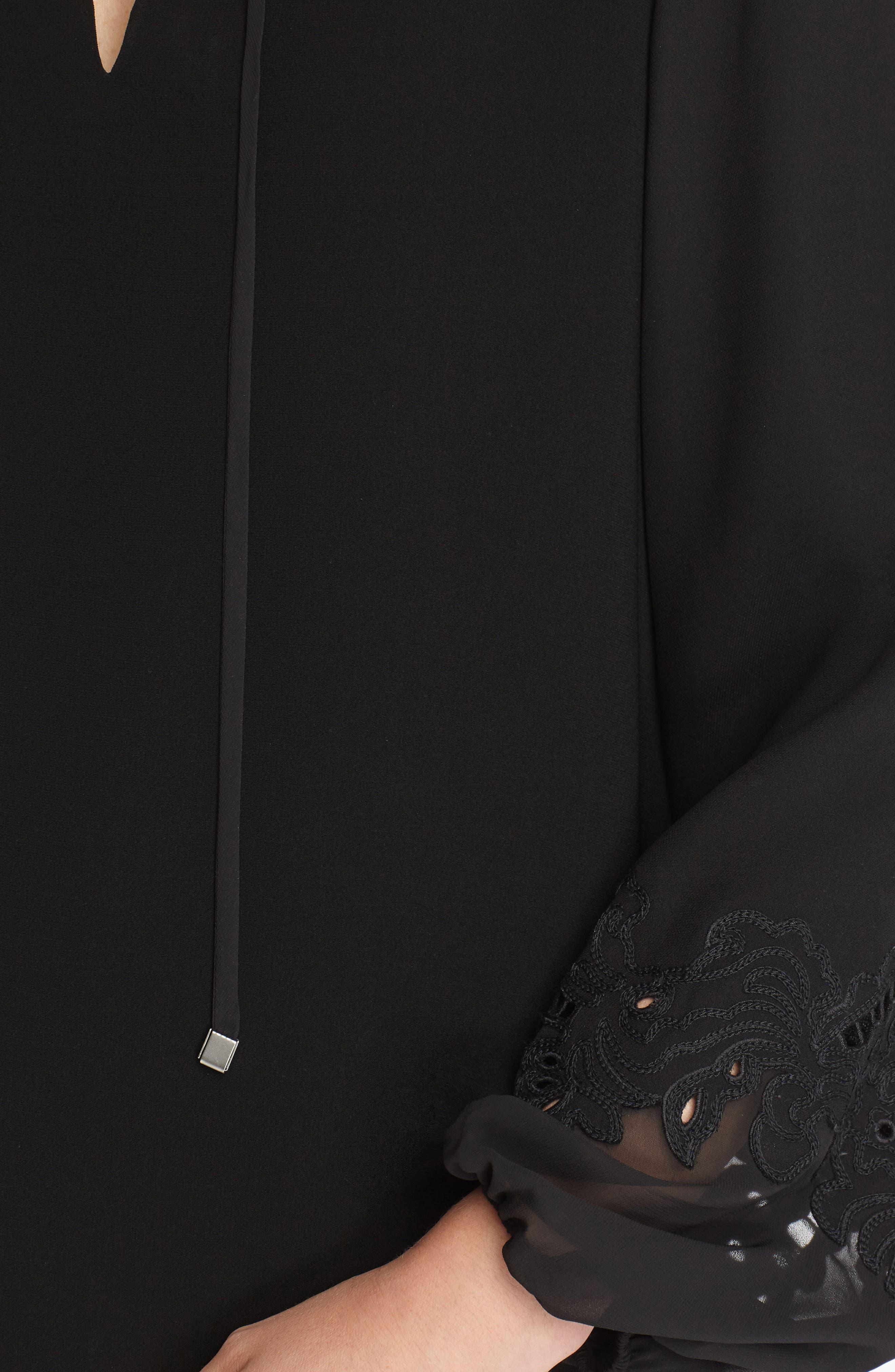 Eli Embroidered Cuff Chiffon Dress,                             Alternate thumbnail 3, color,                             001