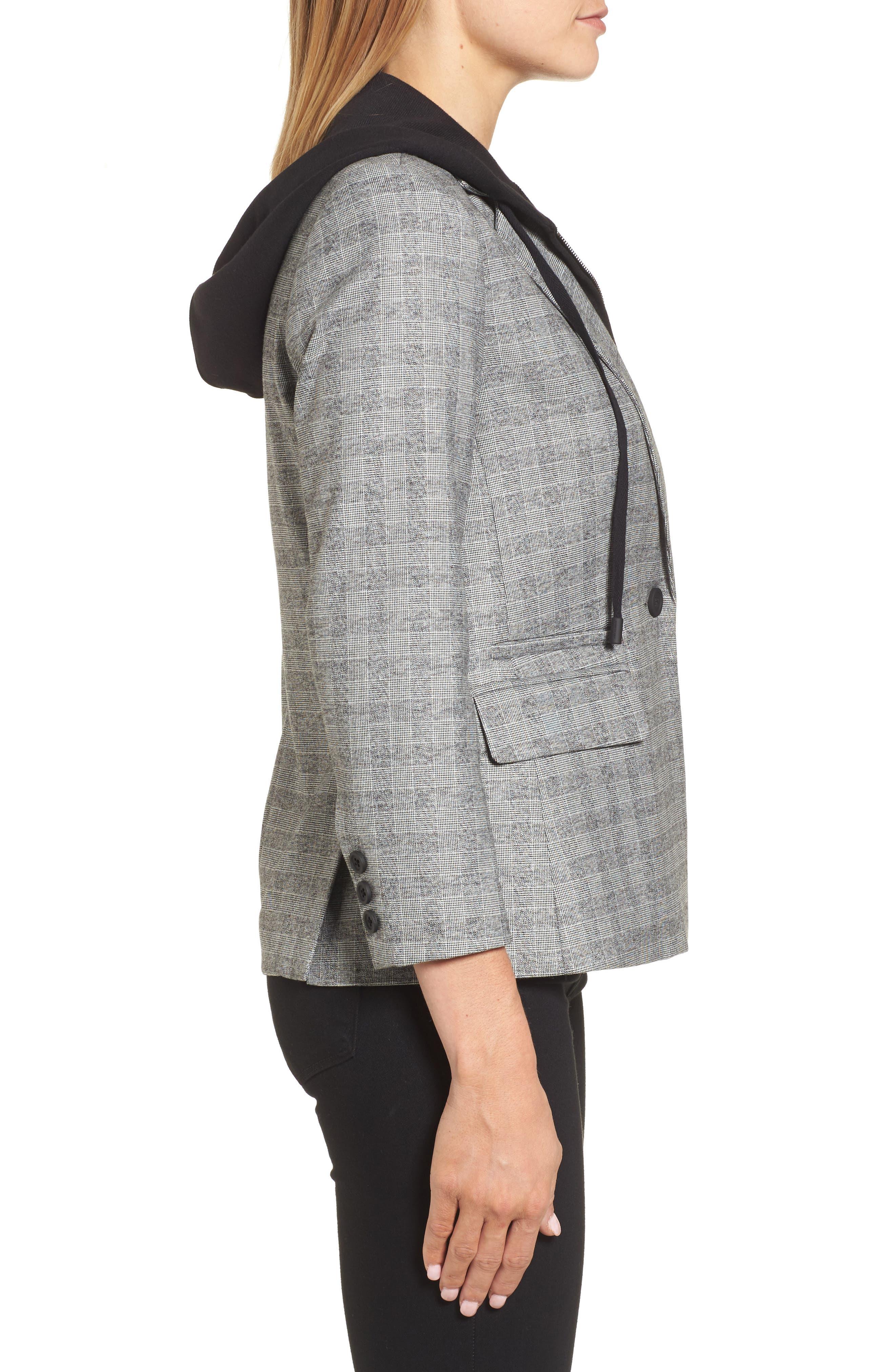 Menswear Removable Hood Plaid Blazer,                             Alternate thumbnail 3, color,                             086