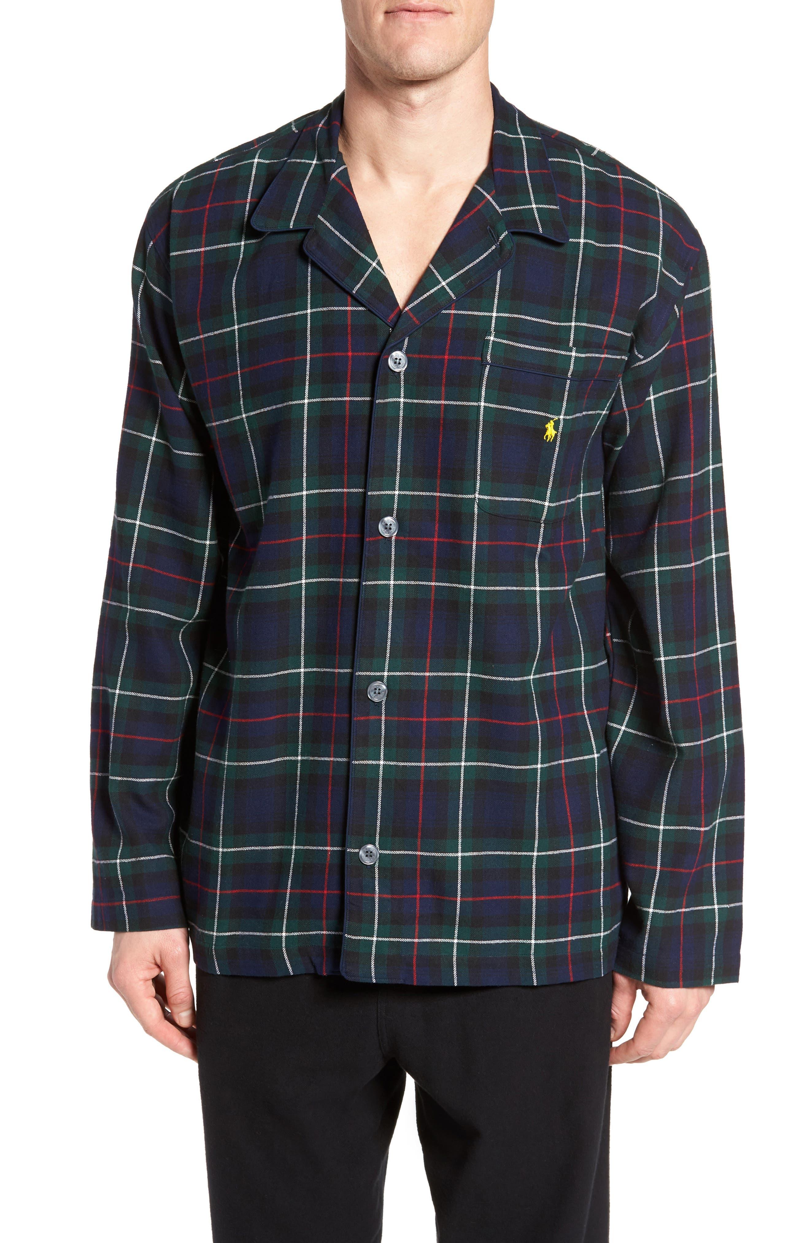 Polo Ralph Lauren Flannel Pajama Shirt,                             Main thumbnail 2, color,
