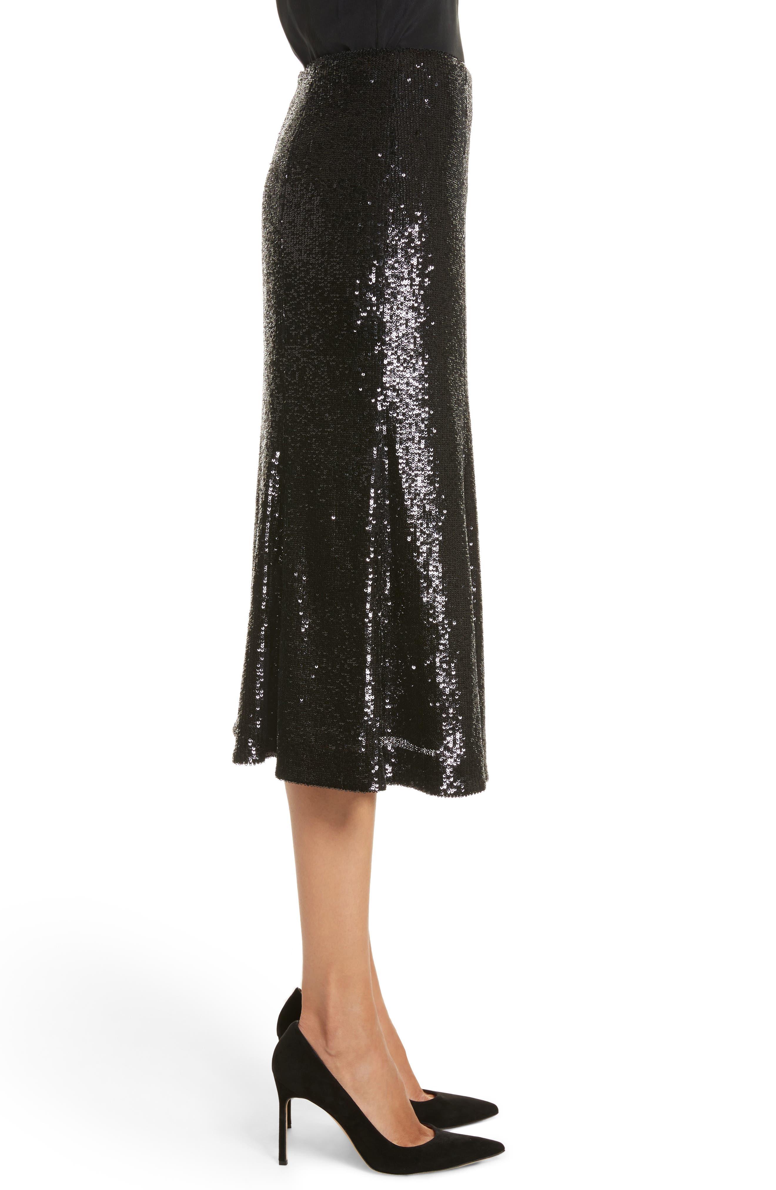 Braxton Sequin Skirt,                             Alternate thumbnail 3, color,                             001