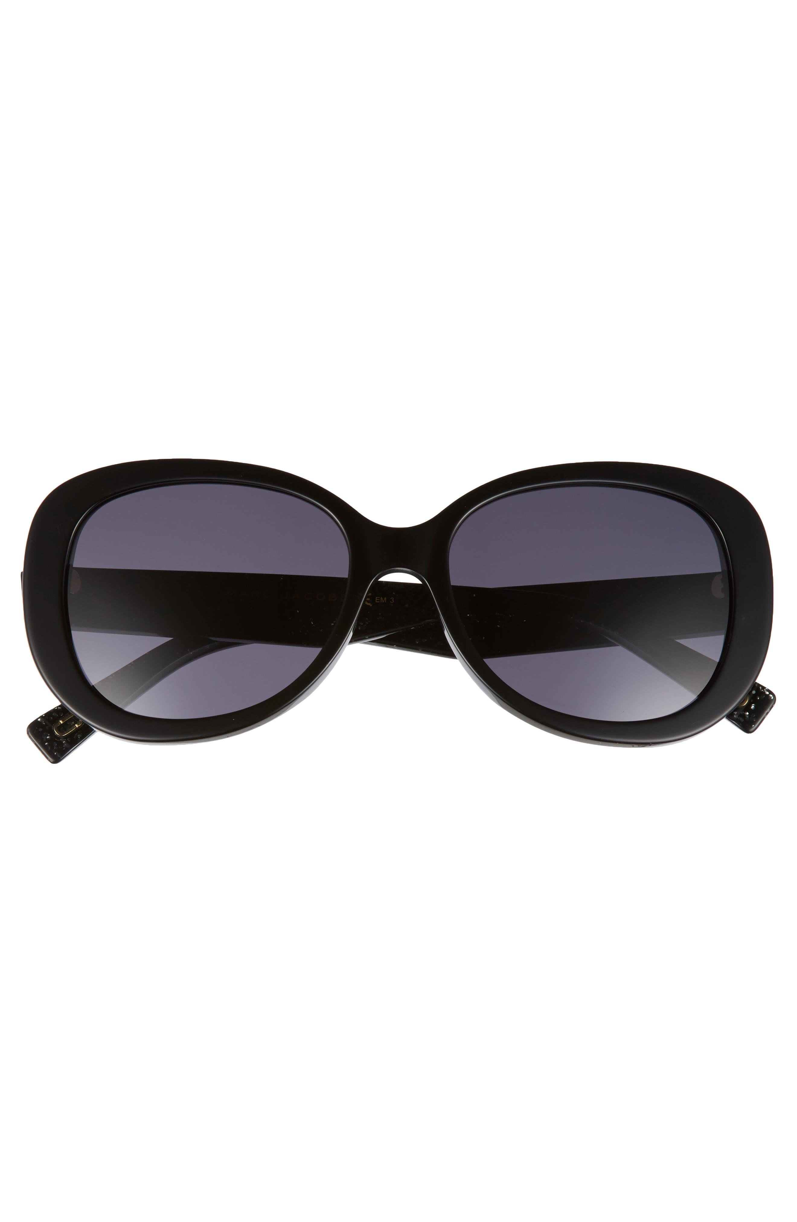 56mm Butterfly Sunglasses,                             Alternate thumbnail 3, color,                             BLACK GLITTER