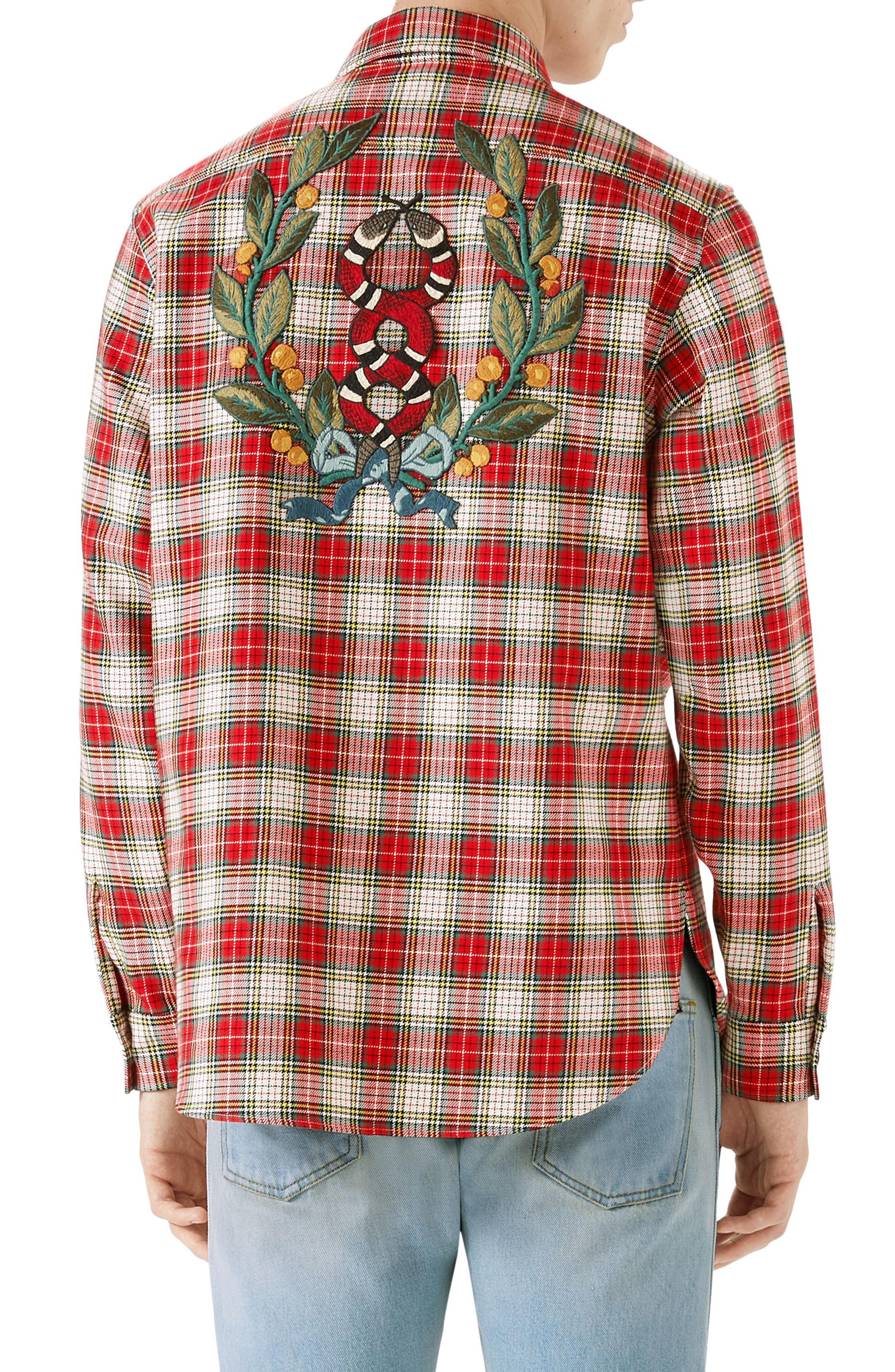 Embroidered Snake Oversize Plaid Shirt,                             Alternate thumbnail 2, color,                             690
