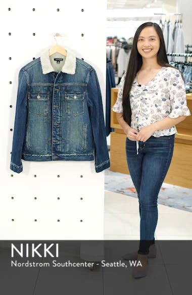 Denim Jacket with Faux Shearling Collar, sales video thumbnail