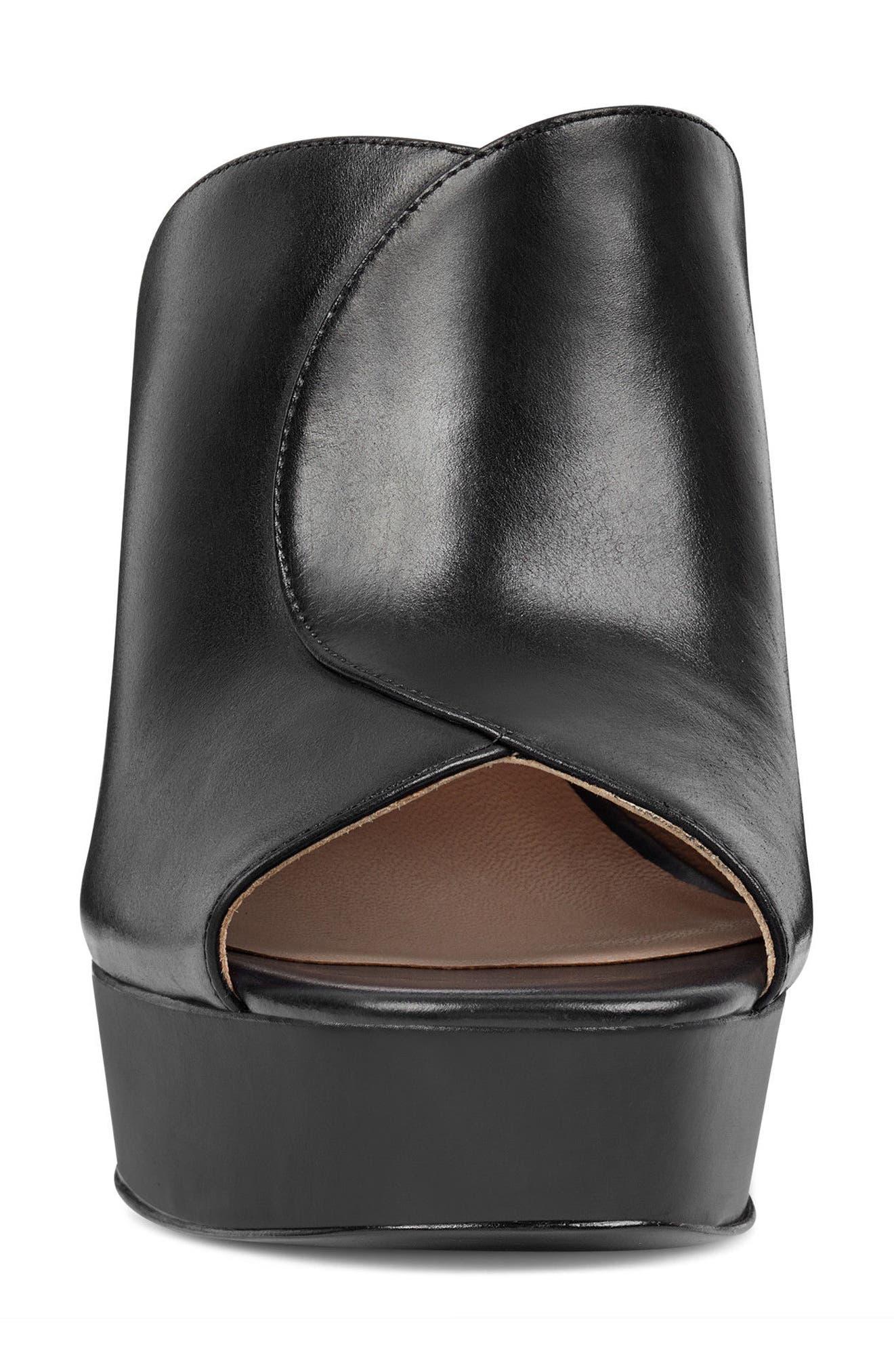 Lisana - 40th Anniversary Capsule Collection Platform Slide Sandal,                             Alternate thumbnail 4, color,                             BLACK LEATHER