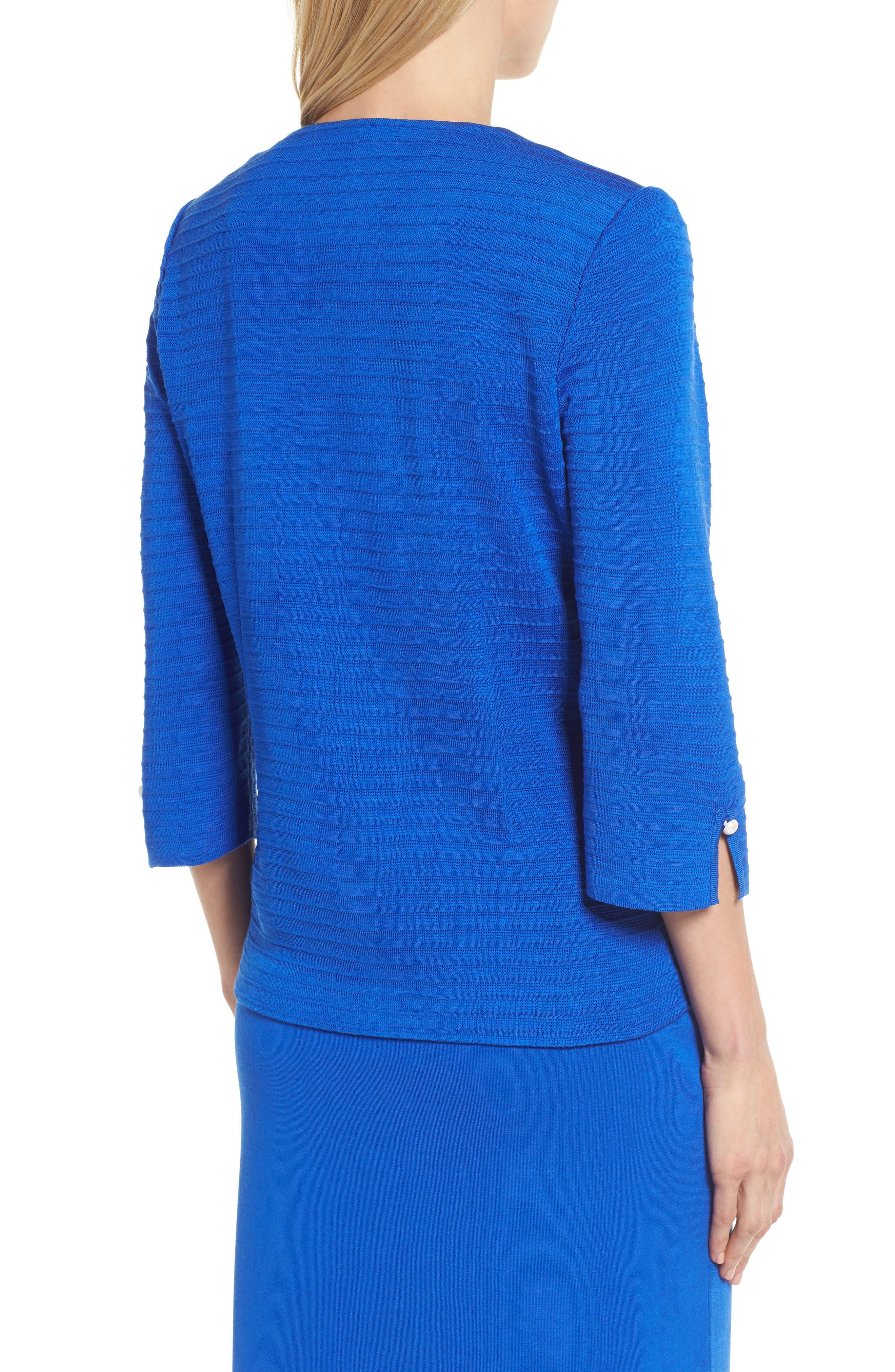 Textured Three Quarter Sleeve Jacket,                             Alternate thumbnail 2, color,                             PATRIOT BLUE