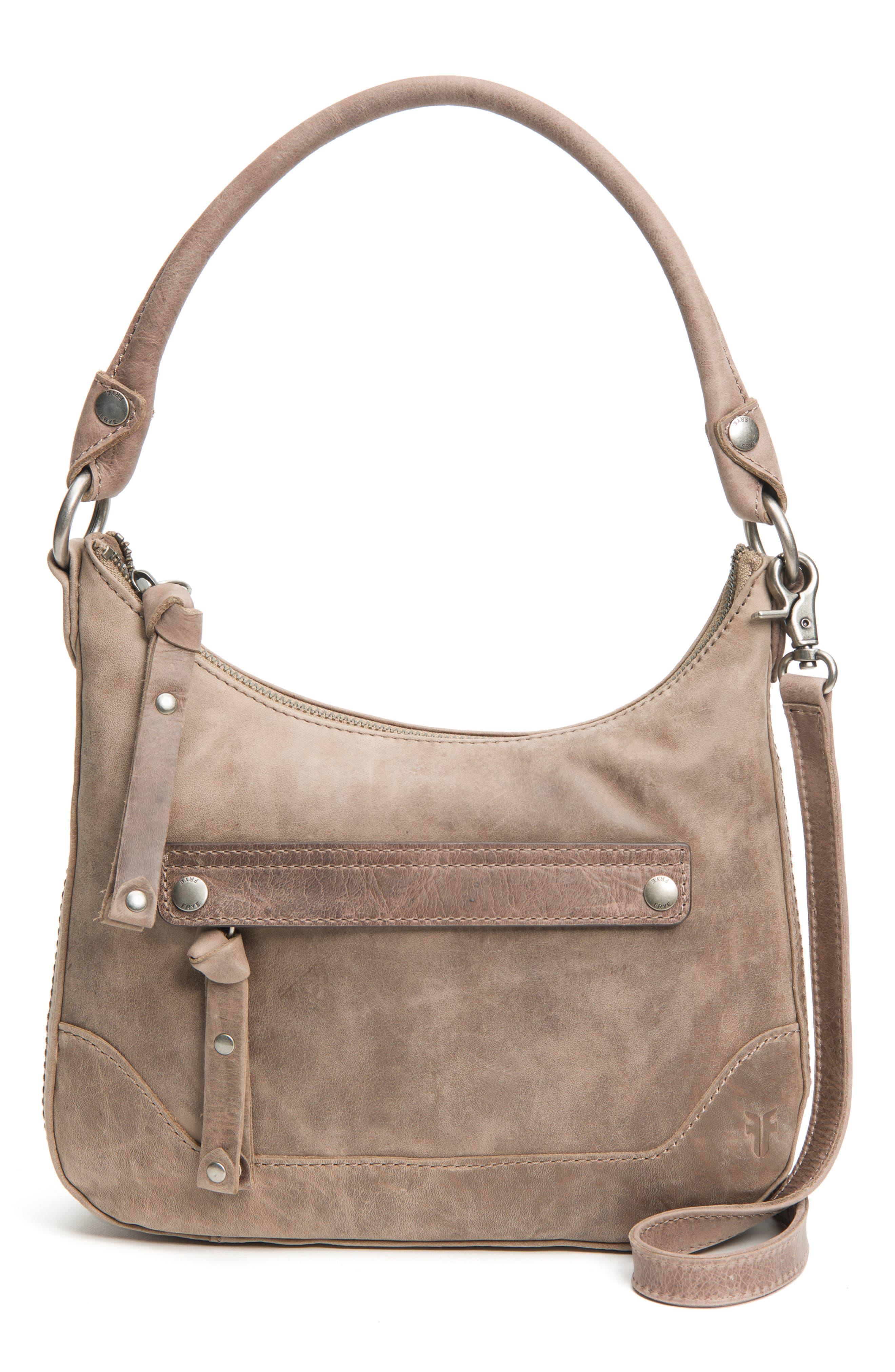 Small Melissa Leather Hobo Bag,                             Main thumbnail 1, color,                             GREY