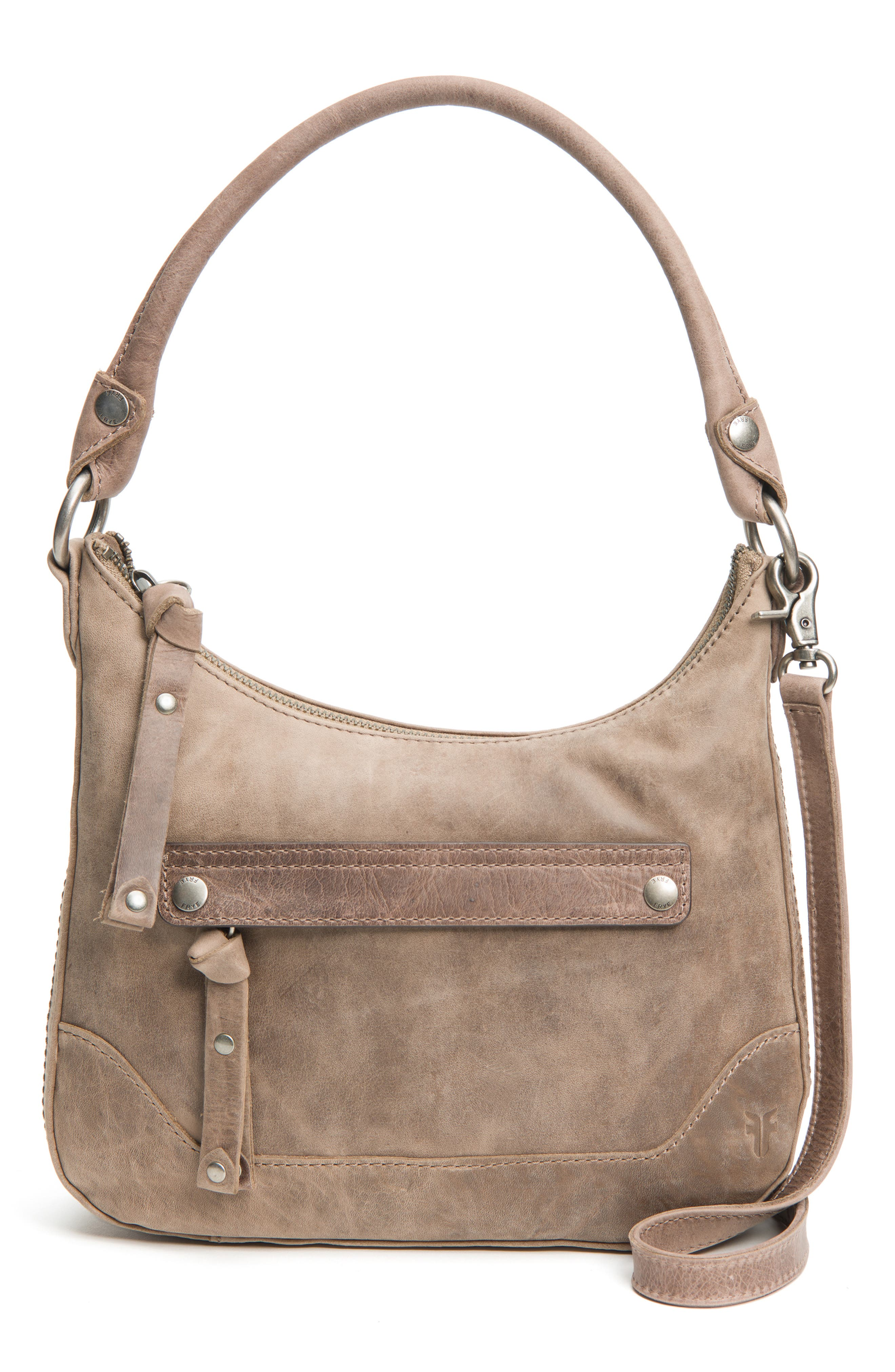 Small Melissa Leather Hobo Bag,                         Main,                         color, GREY