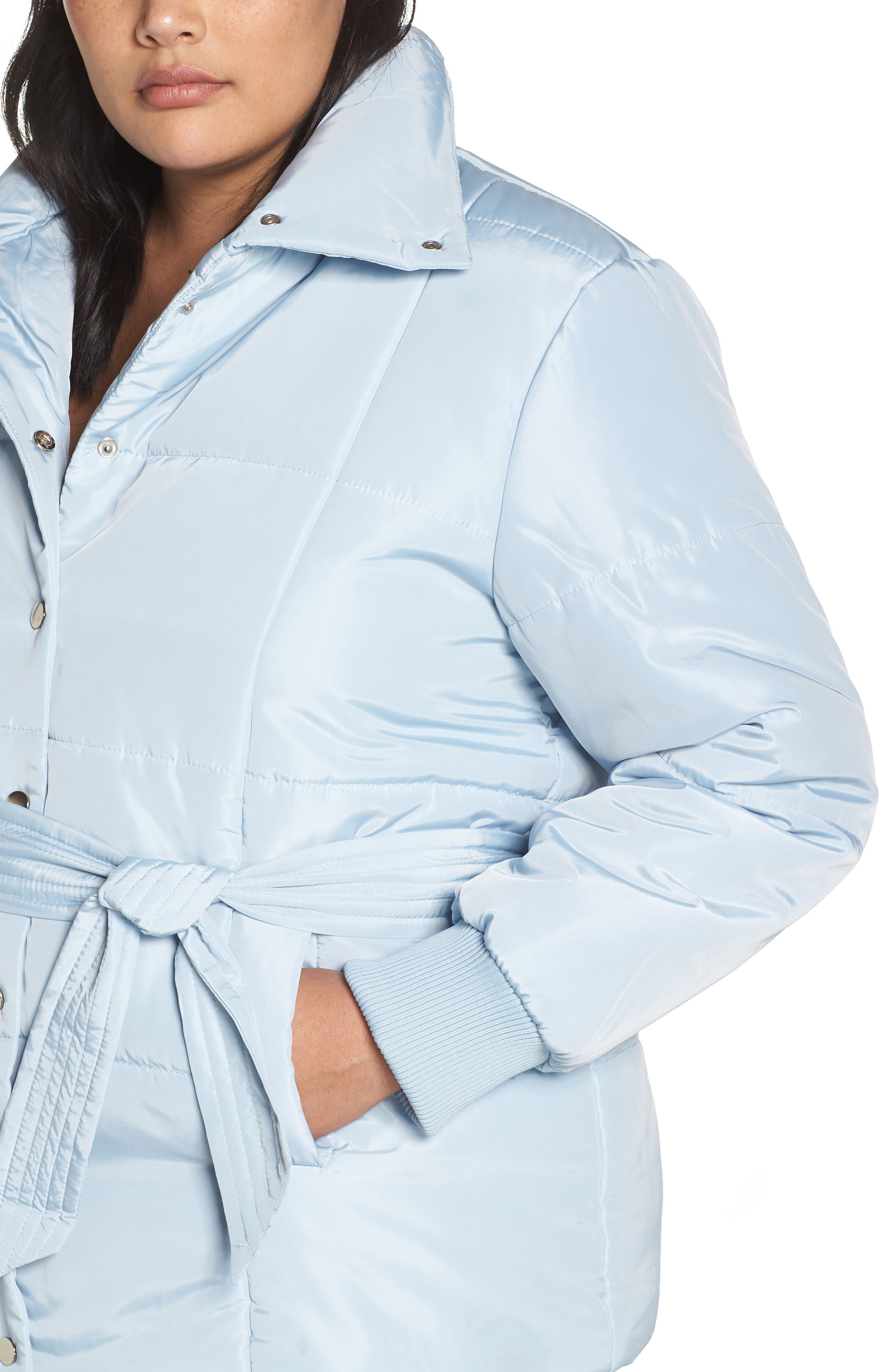 Belted Quilted Jacket,                             Alternate thumbnail 4, color,                             BLUE