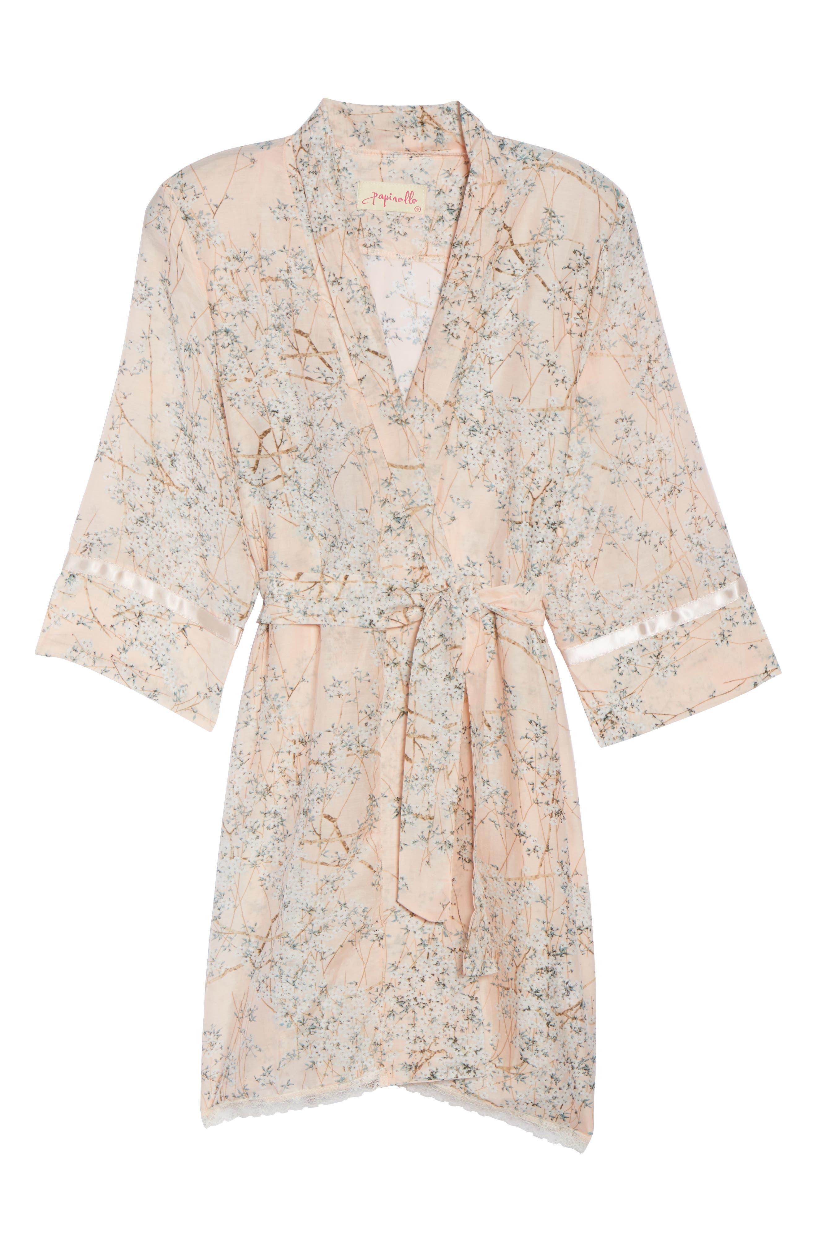 PAPINELLE,                             Cherry Blossom Cotton & Silk Short Robe,                             Alternate thumbnail 6, color,                             950