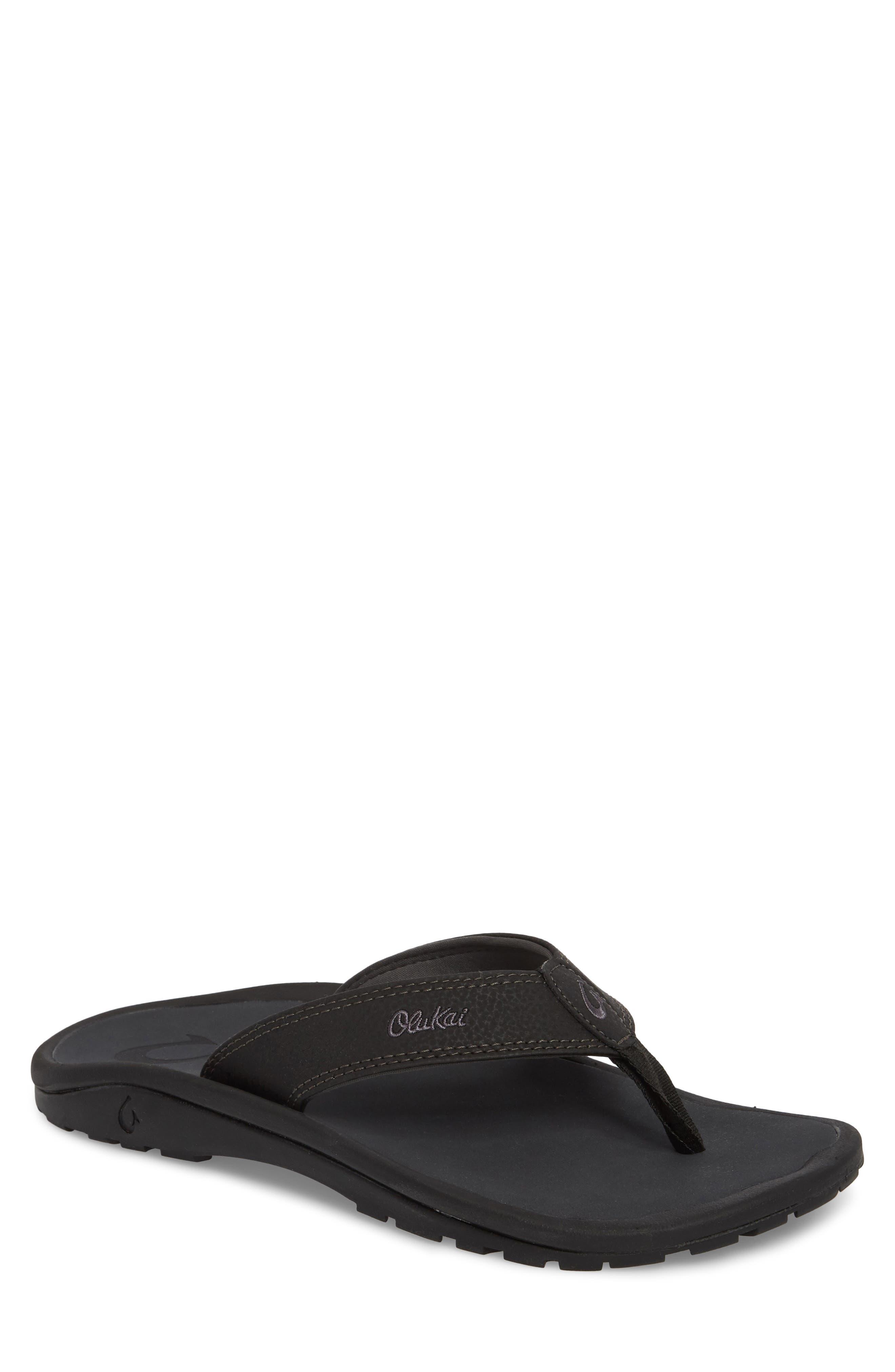 'Ohana' Flip Flop,                         Main,                         color, BLACK/ DARK SHADOW