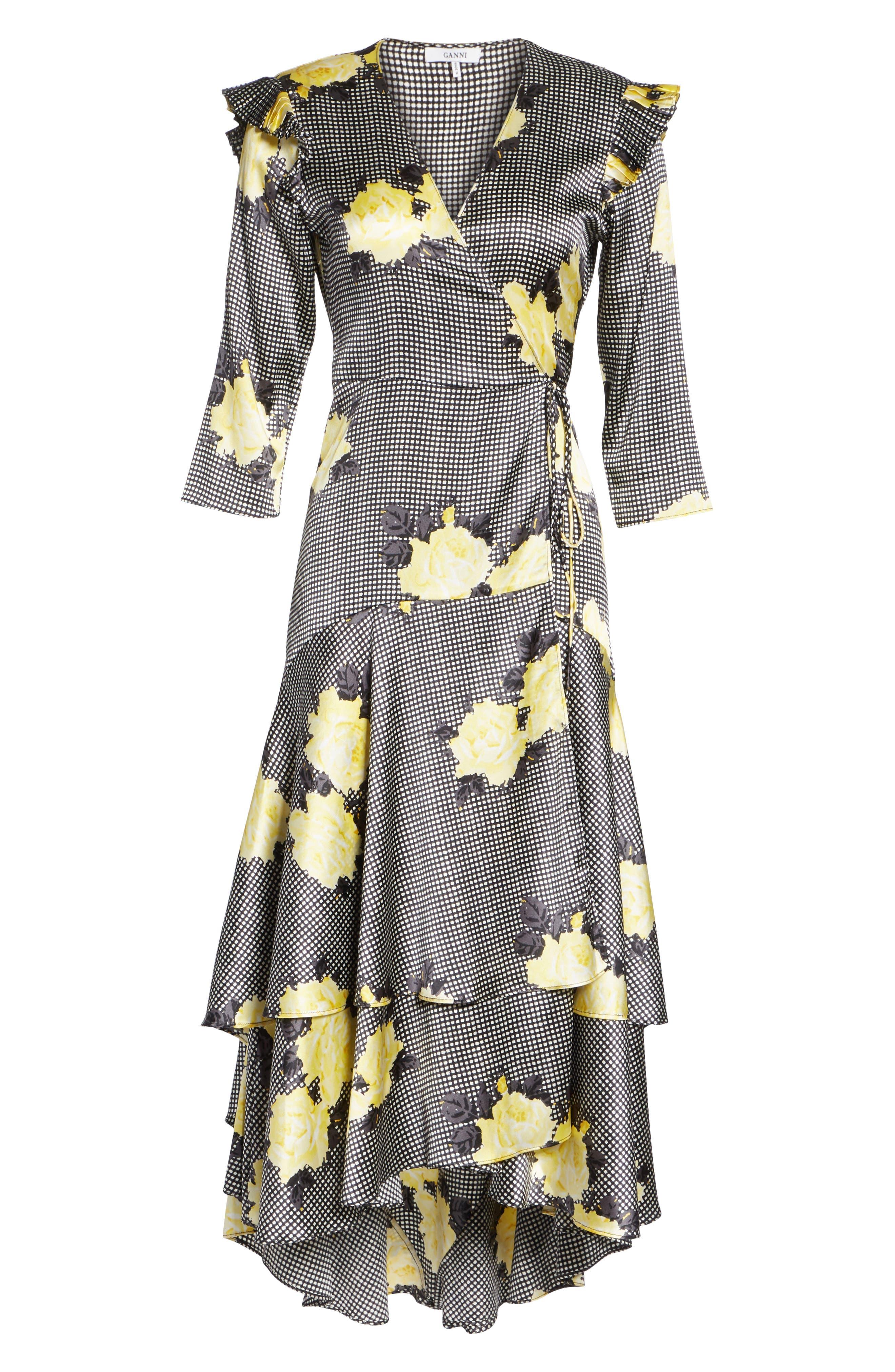Calla Floral Silk Wrap Dress,                             Alternate thumbnail 6, color,                             BLACK