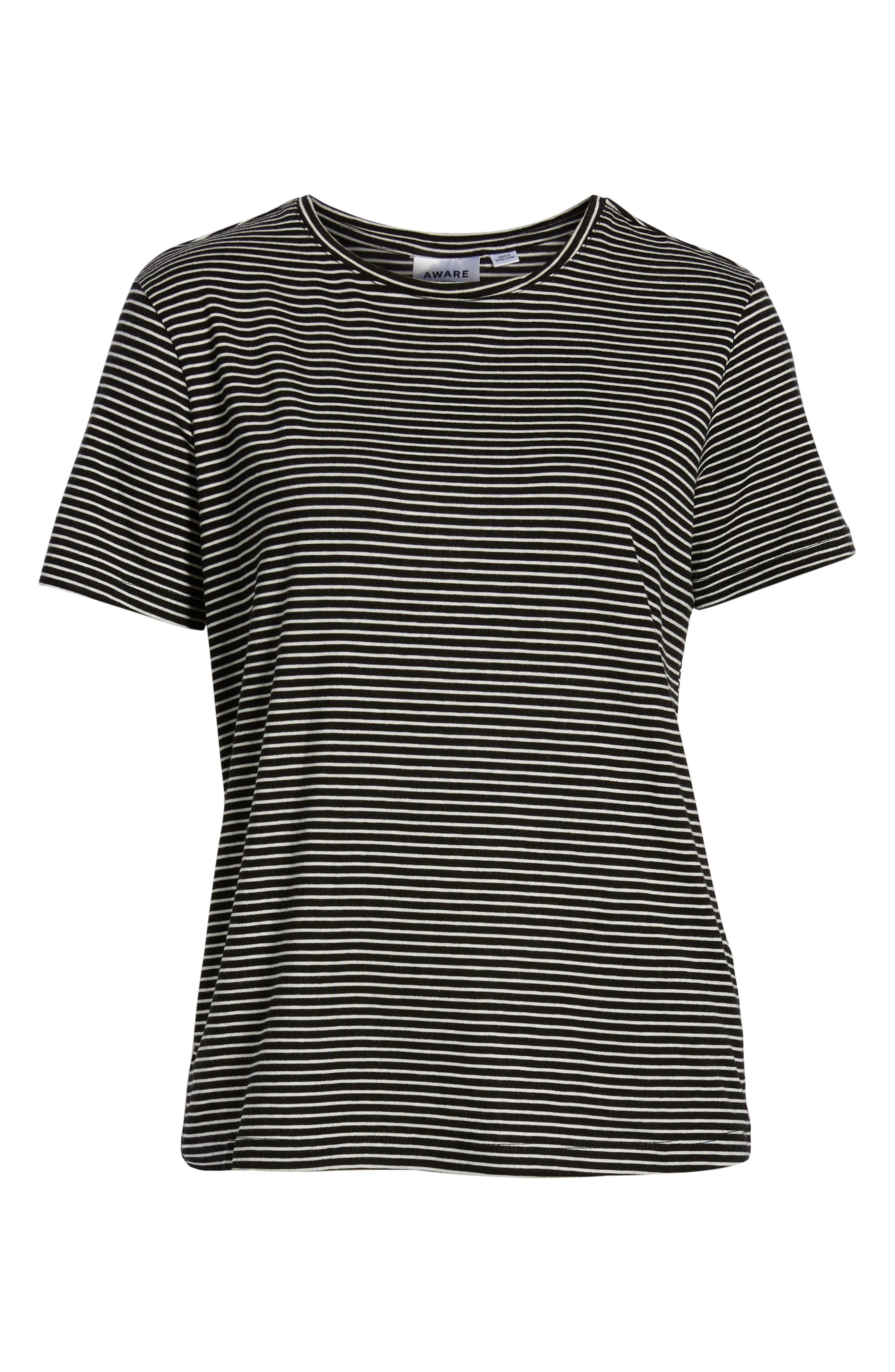 Ava Stripe Tee,                             Alternate thumbnail 6, color,                             BLACK STRIPE