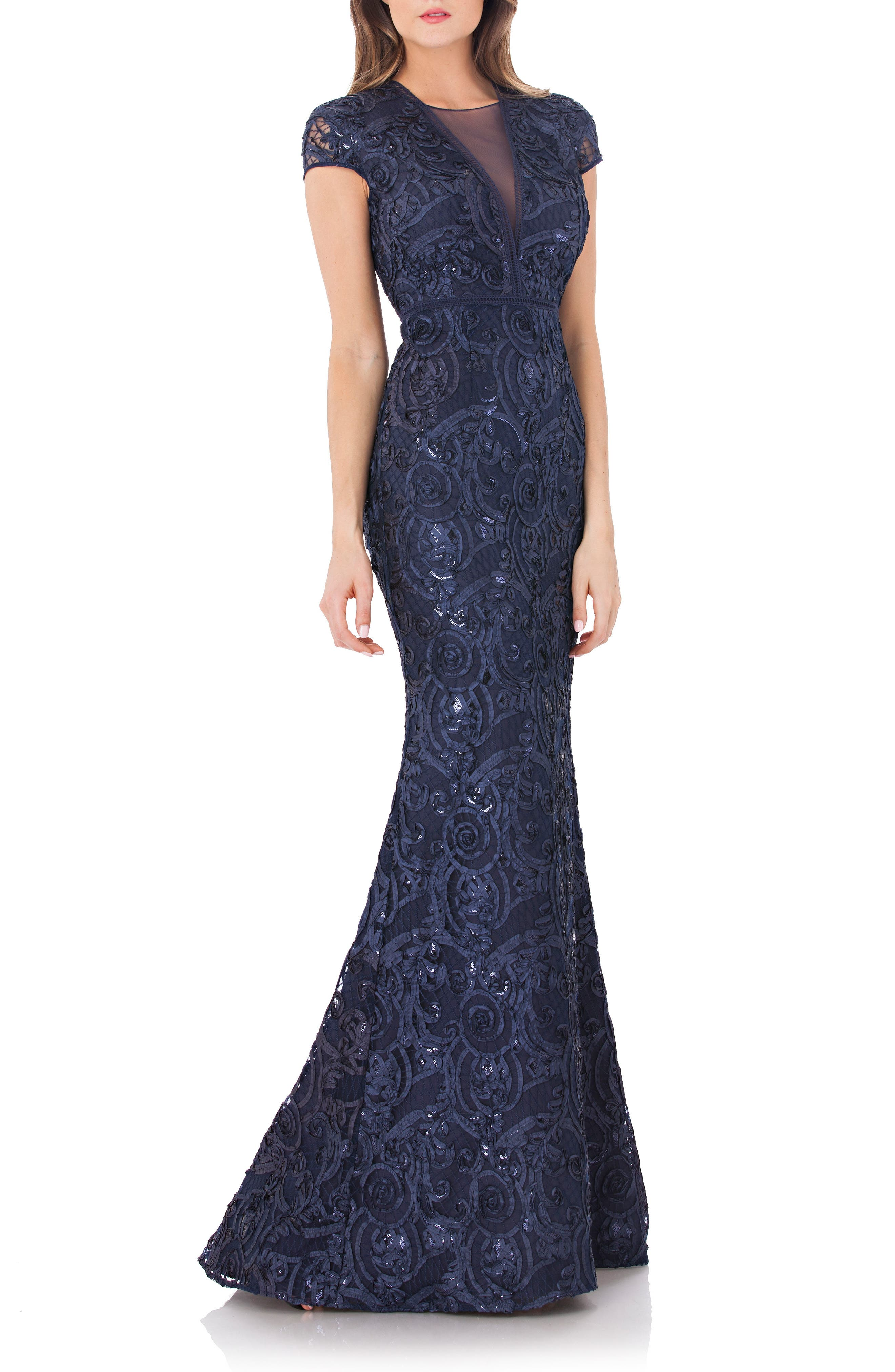 Carmen Marc Valvo Infusion Embellished Soutache Mermaid Gown, Blue