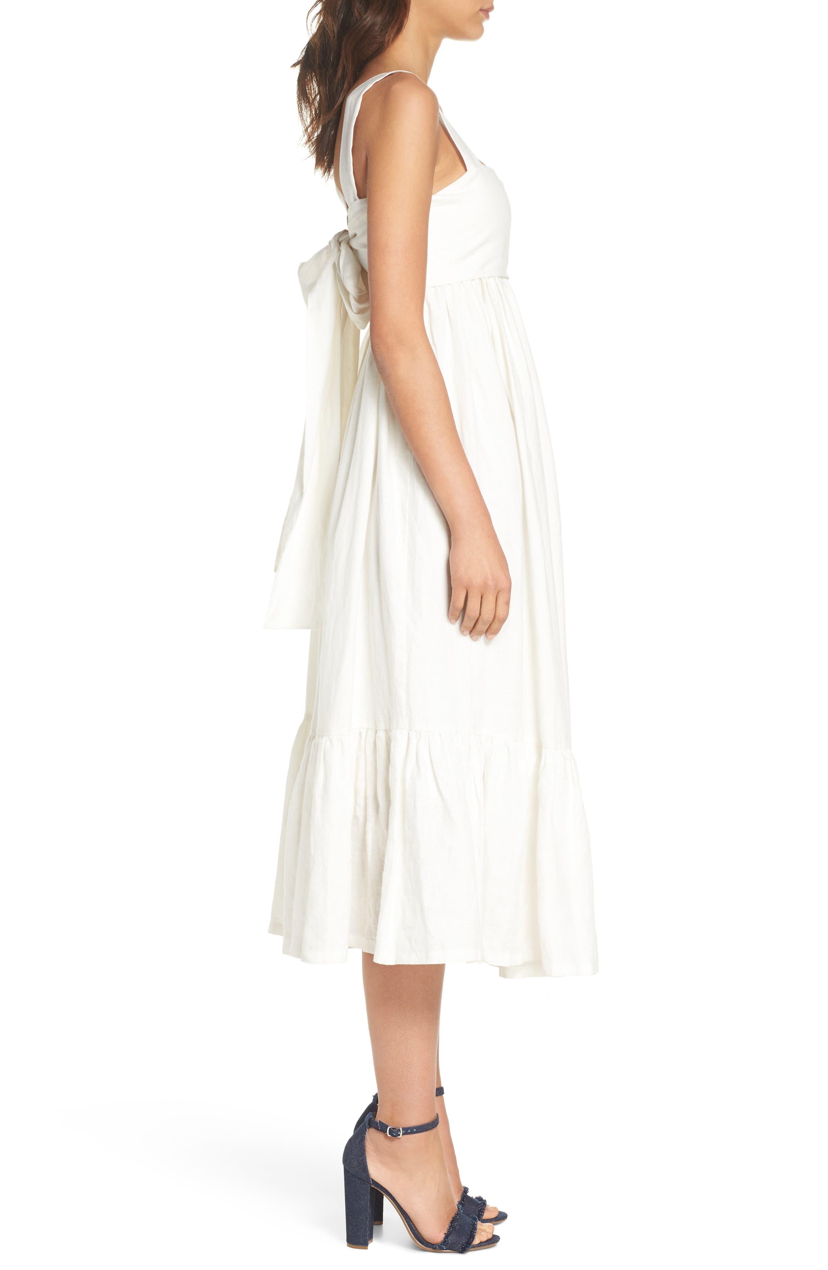 Forget Me Not Linen Midi Dress,                             Alternate thumbnail 3, color,                             100