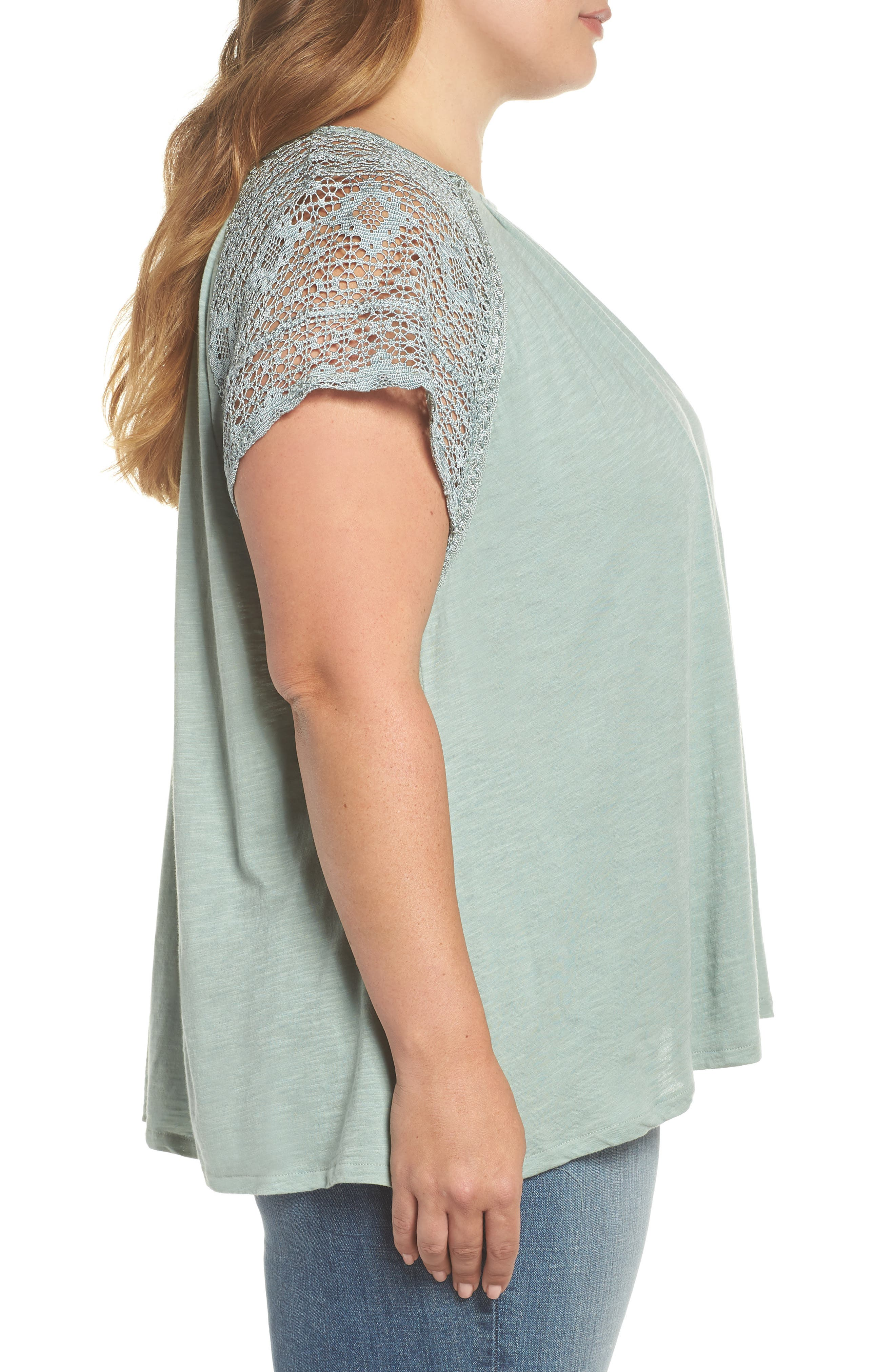 Lace Sleeve Top,                             Alternate thumbnail 3, color,                             ICEBERG GREEN