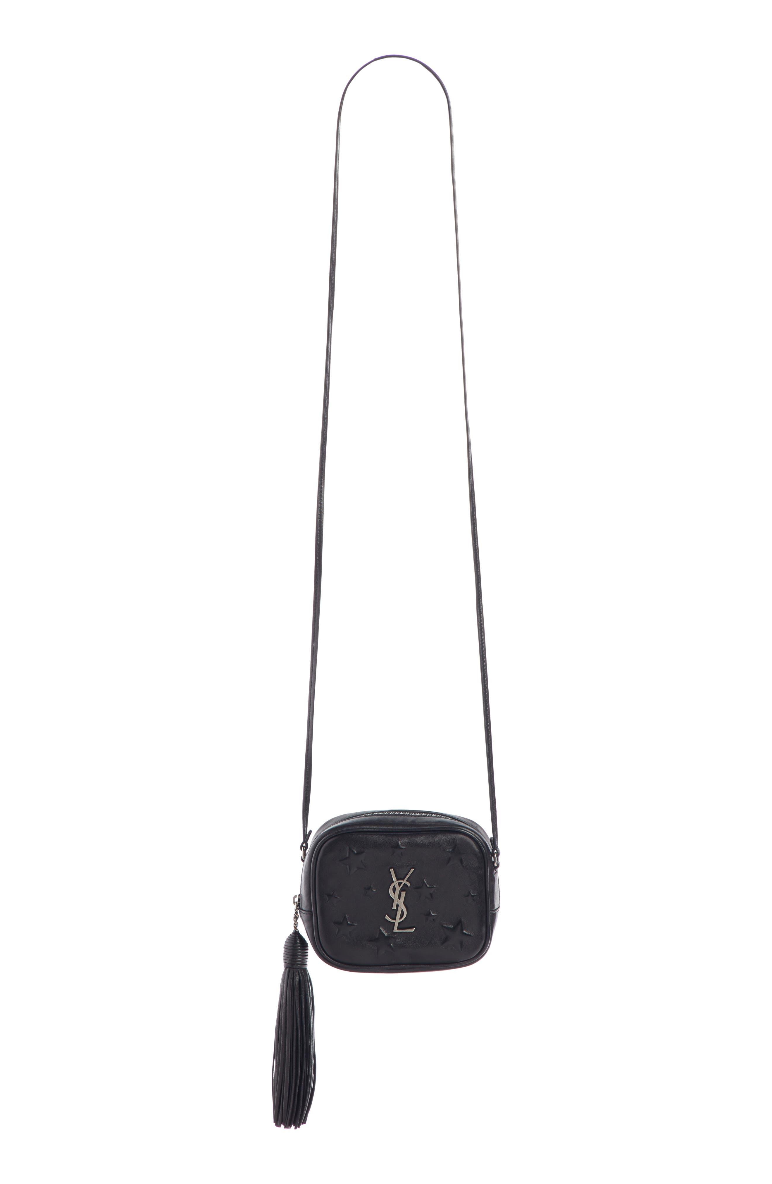 Mini Blogger Star Embossed Leather Crossbody Bag - Black in Noir