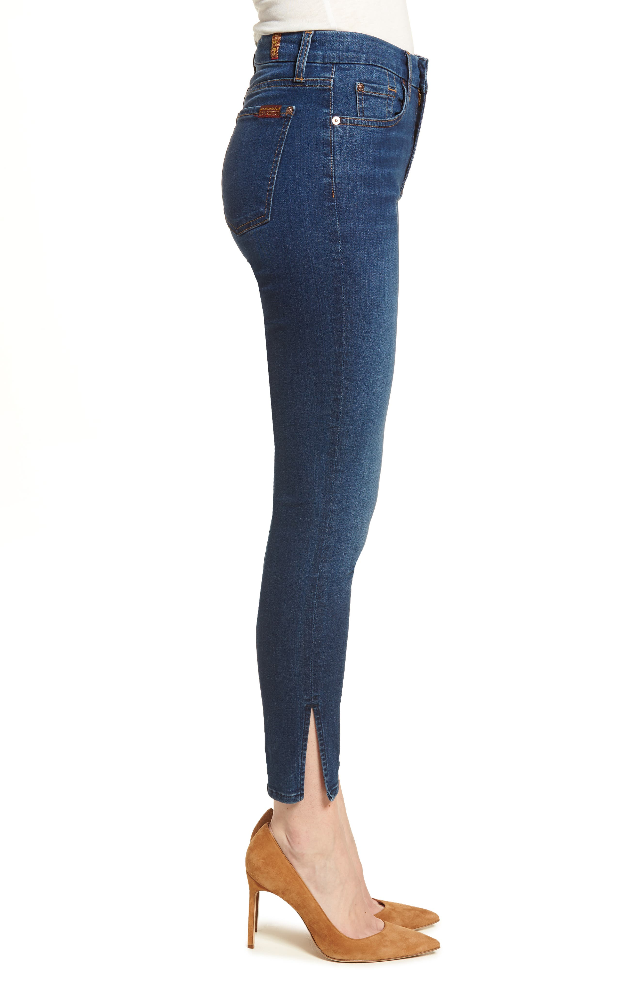 b(air) - Aubrey High Waist Skinny Jeans,                             Alternate thumbnail 3, color,                             400