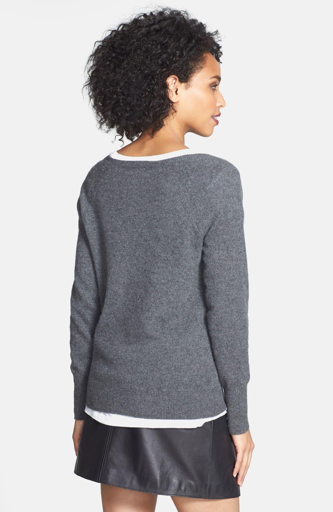 Embellished Neck Cashmere Sweater,                             Alternate thumbnail 3, color,                             021