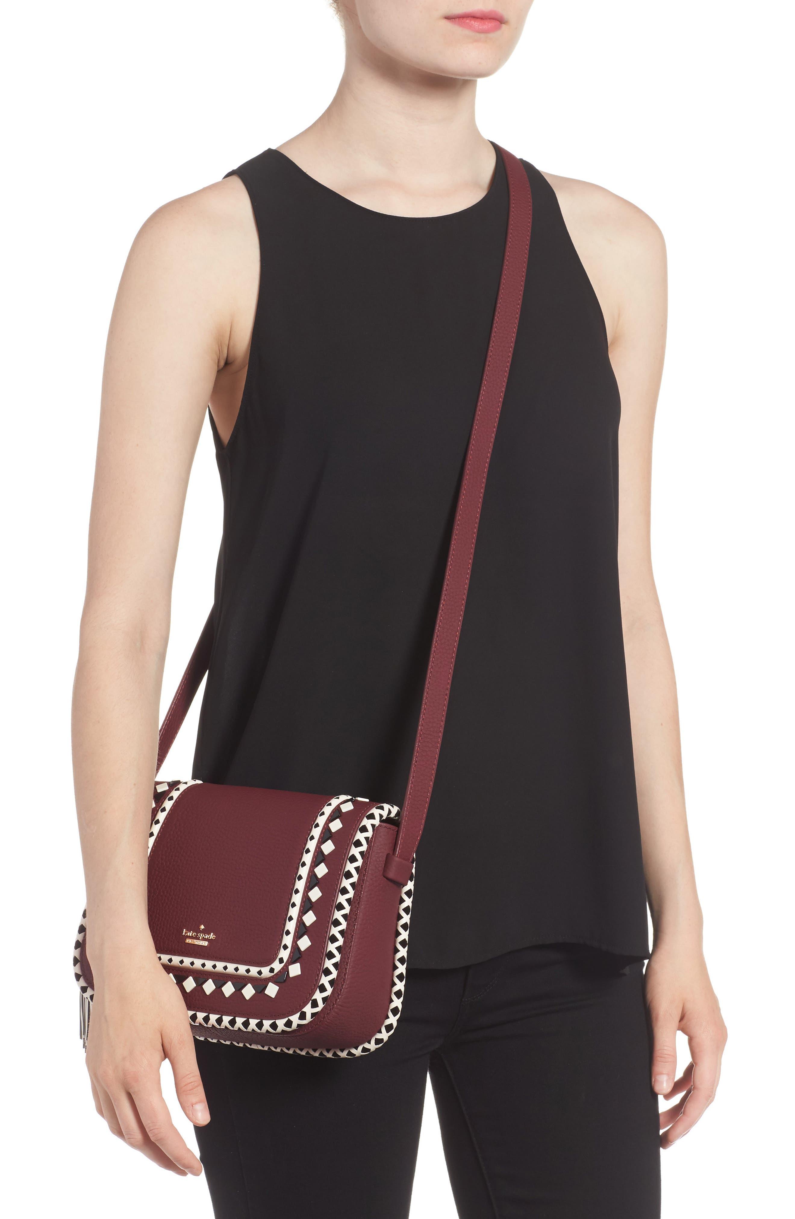 crown street - jasper leather saddle bag,                             Alternate thumbnail 4, color,