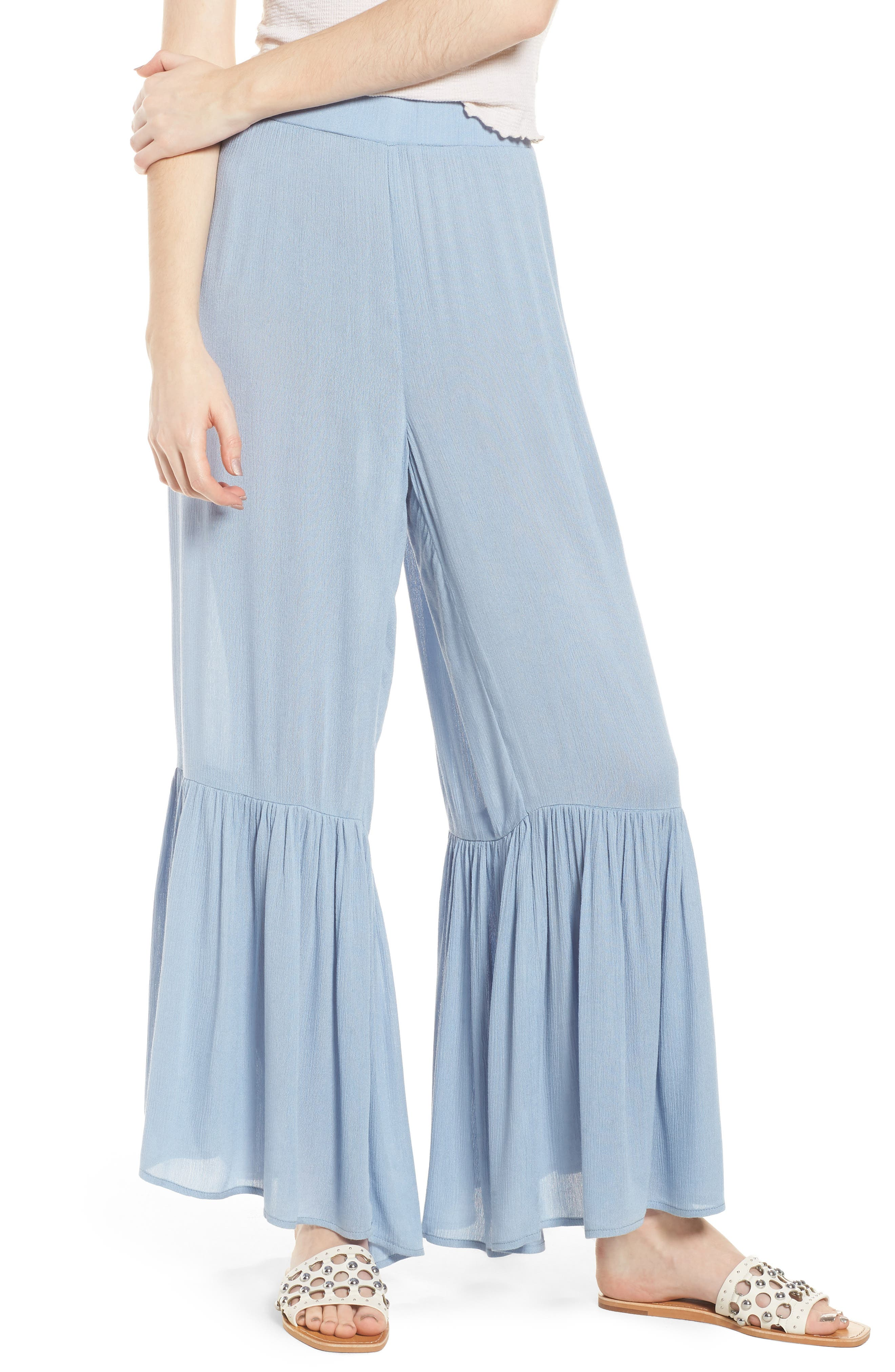 Mystique Ruffle Hem Beach Pants,                         Main,                         color, 400