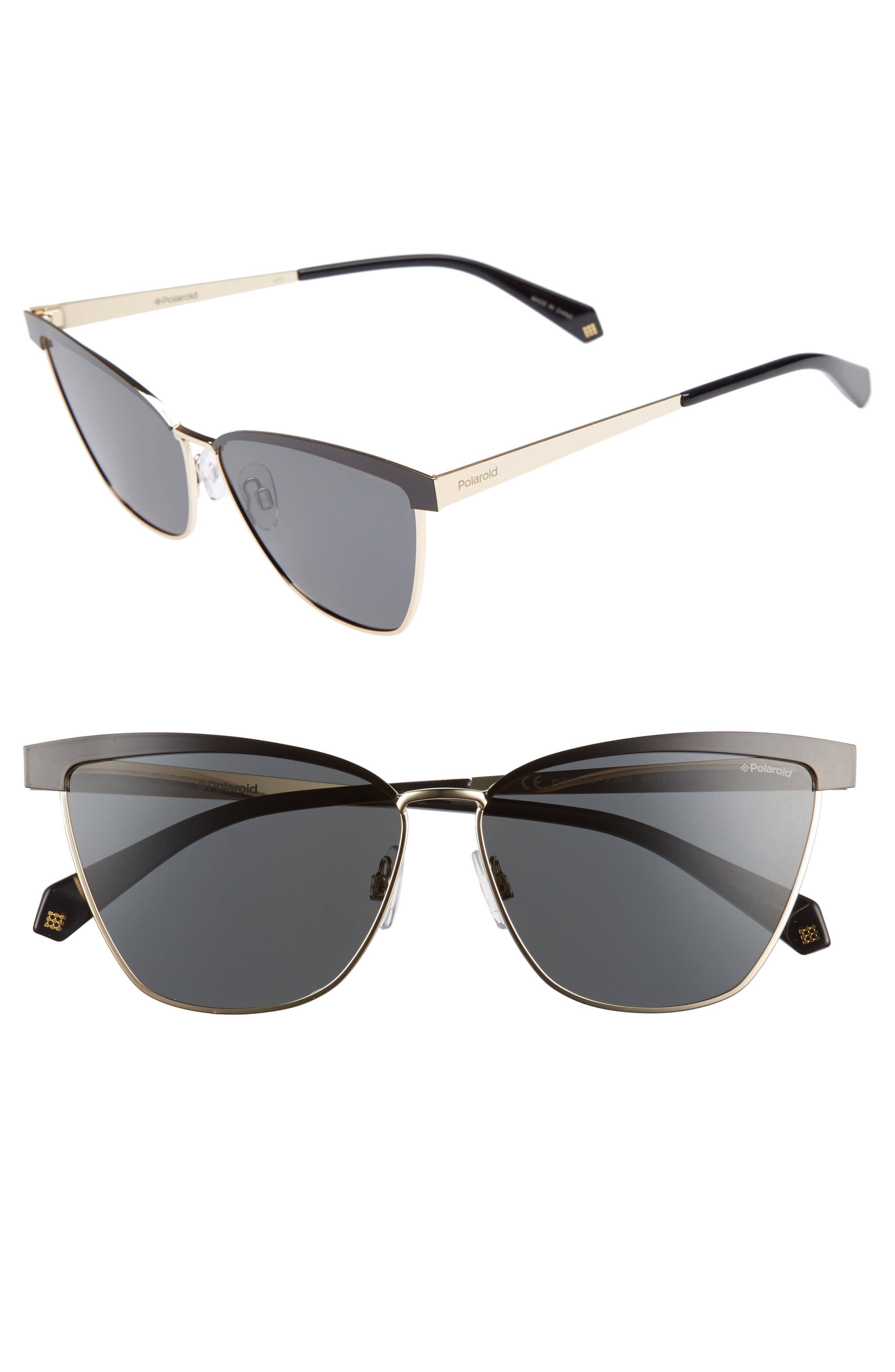 60mm Polarized Cat Eye Sunglasses,                             Main thumbnail 1, color,