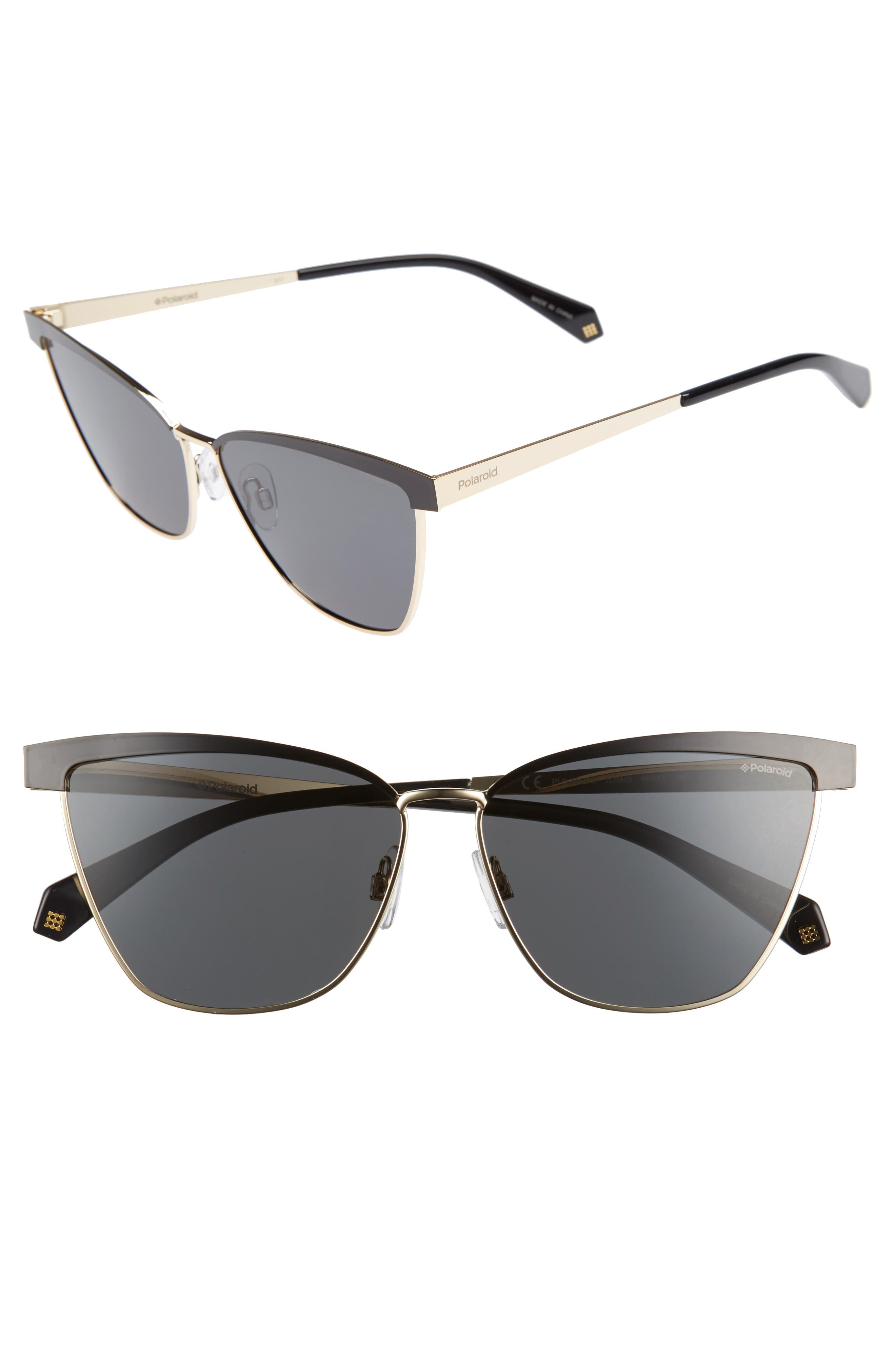 60mm Polarized Cat Eye Sunglasses,                         Main,                         color, 001