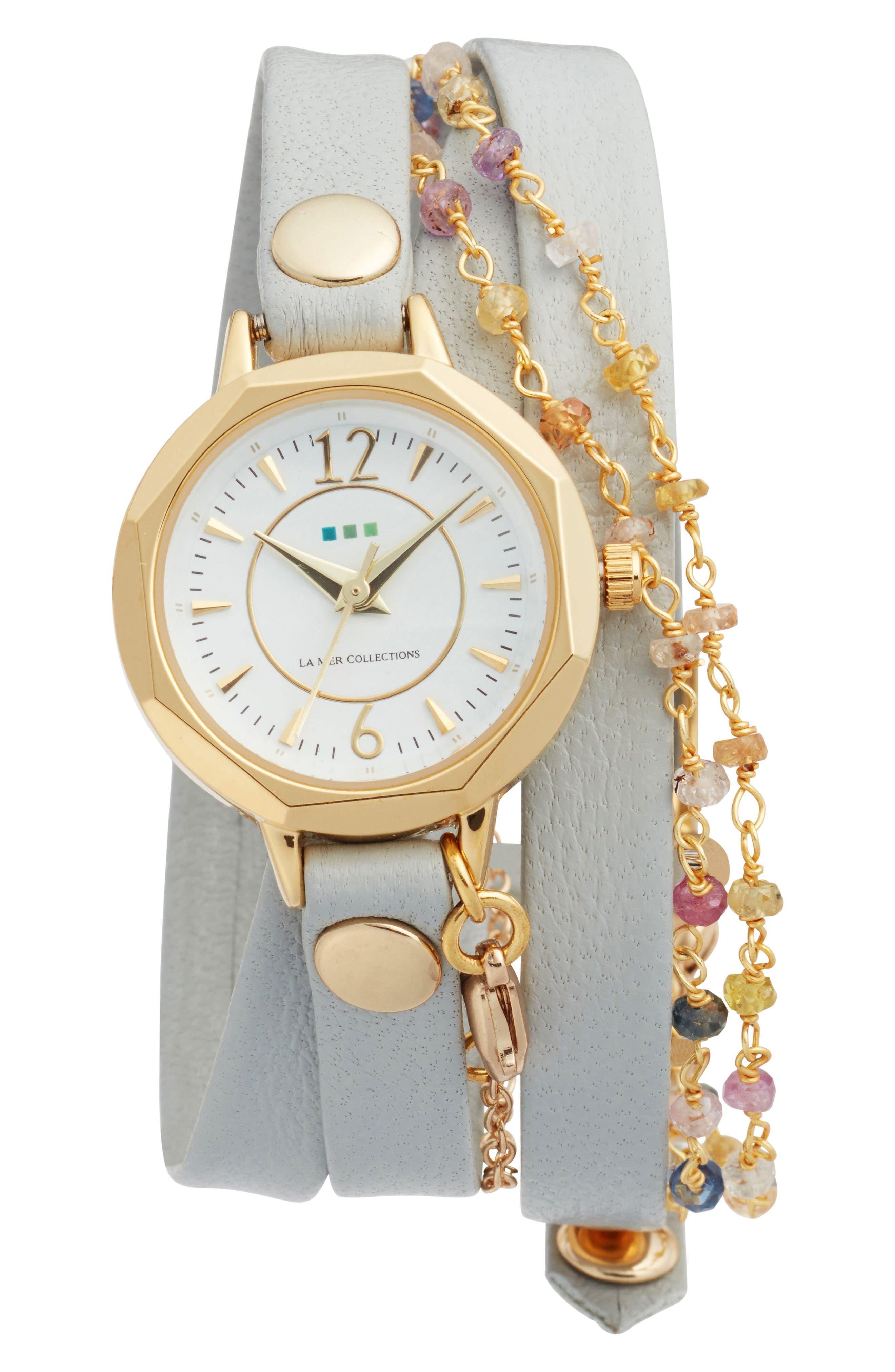 La Mer Nolita Leather Wrap Strap Watch, 22mm,                             Main thumbnail 1, color,                             STONE/WHITE/GOLD