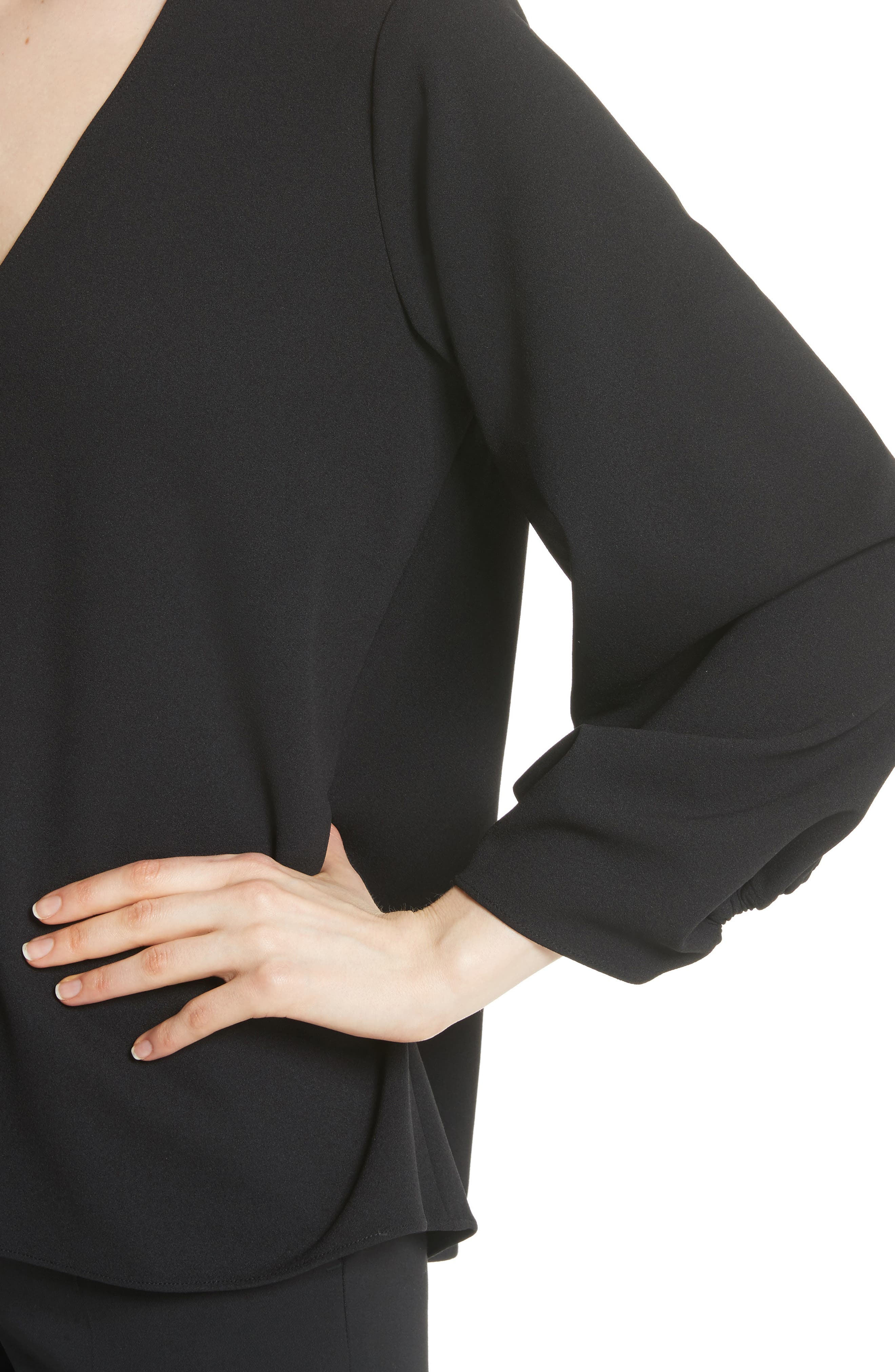 Ruched Sleeve Top,                             Alternate thumbnail 4, color,                             BLACK