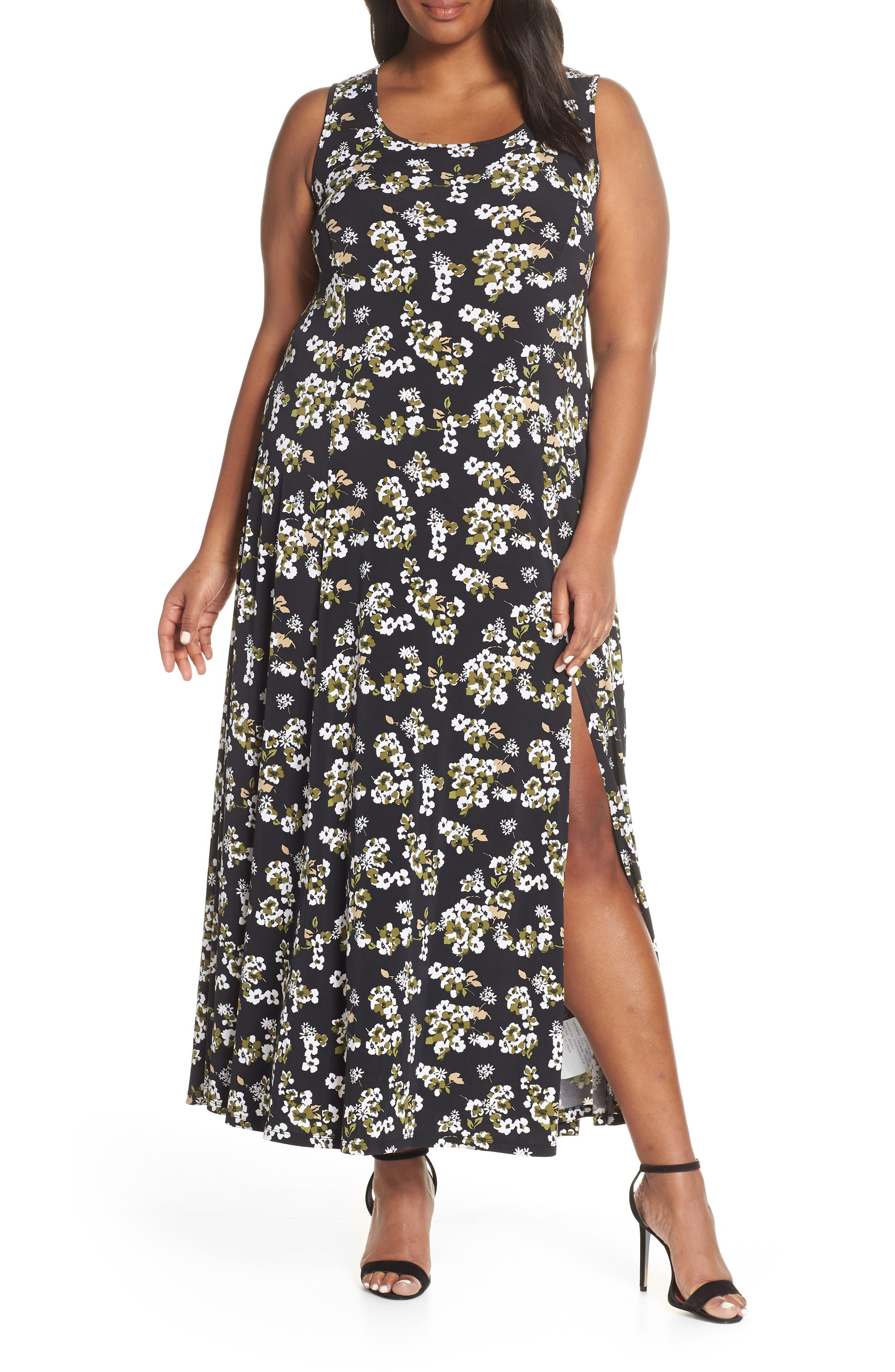 Plus Size Michael Michael Kors Glam Paint Side Slit Maxi Dress, Black