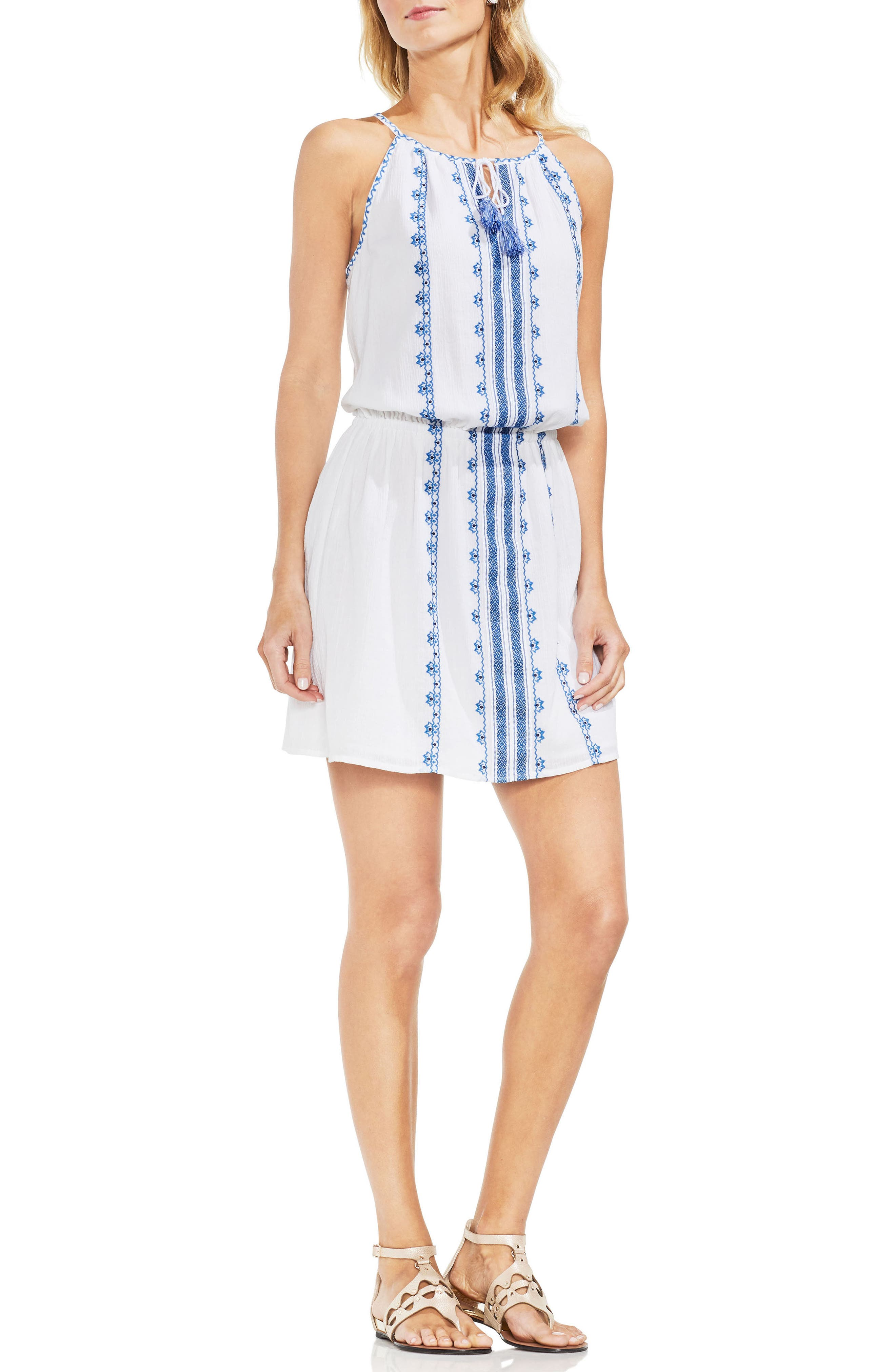 Embroidered Tie Neck Cotton Halter Dress,                         Main,                         color, 145