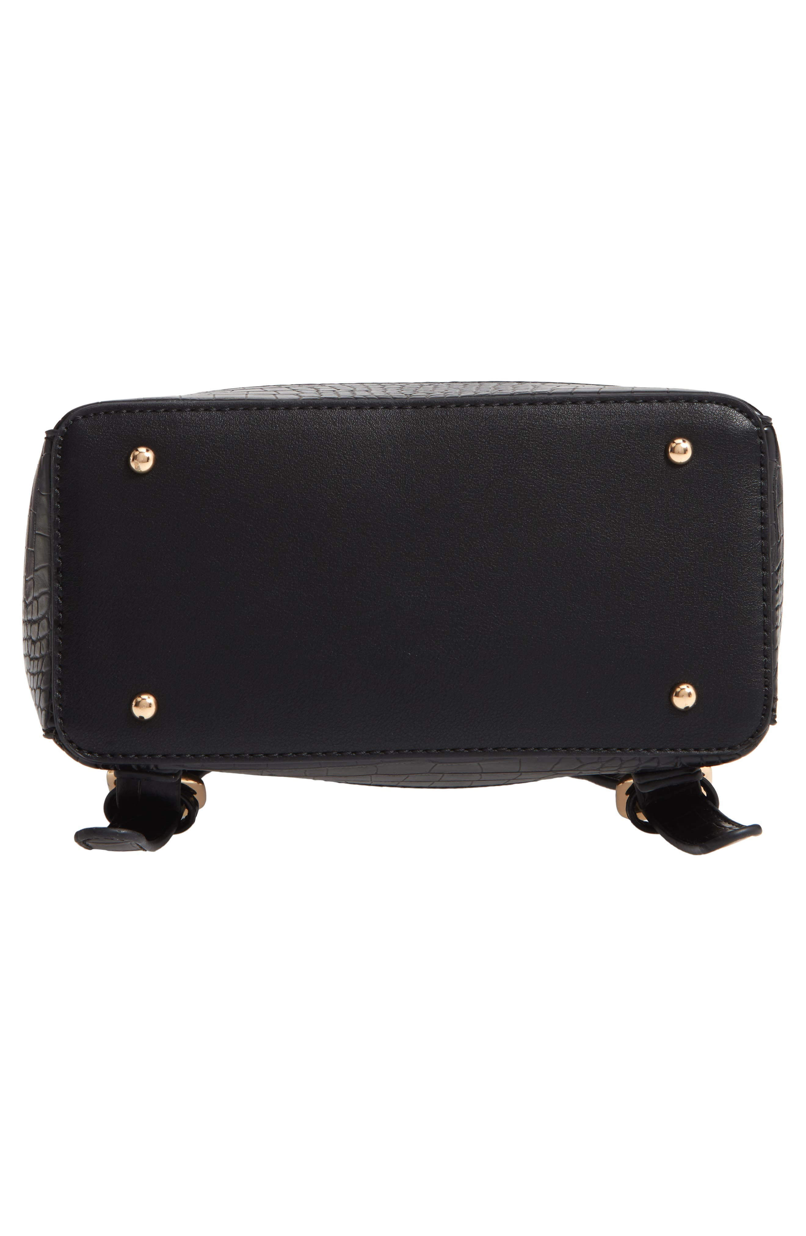 Jamya Croc Embossed Faux Leather Backpack,                             Alternate thumbnail 6, color,                             BLACK
